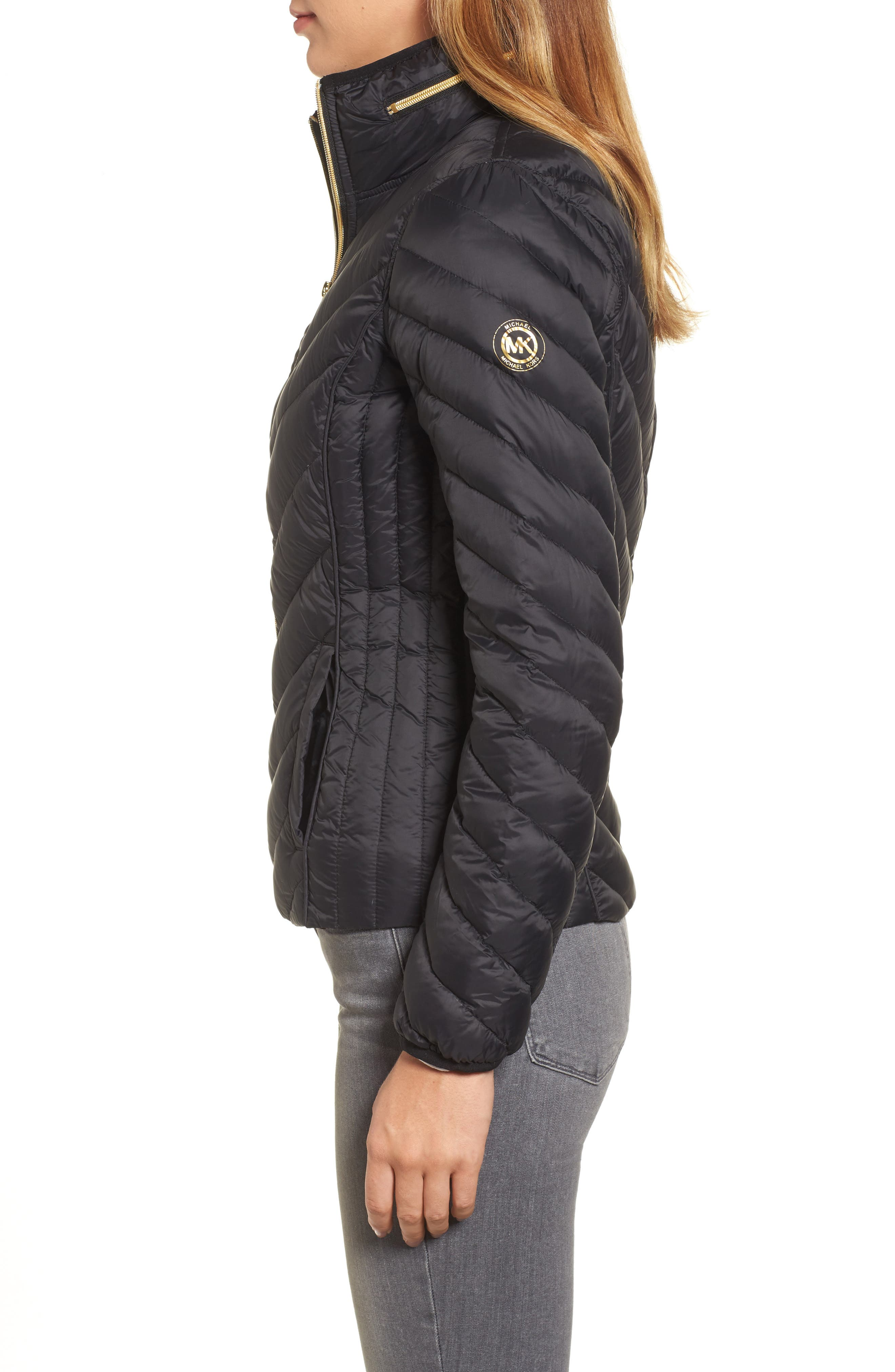 Chevron Quilted Packable Down Puffer Jacket with Stowaway Hood,                             Alternate thumbnail 3, color,                             001