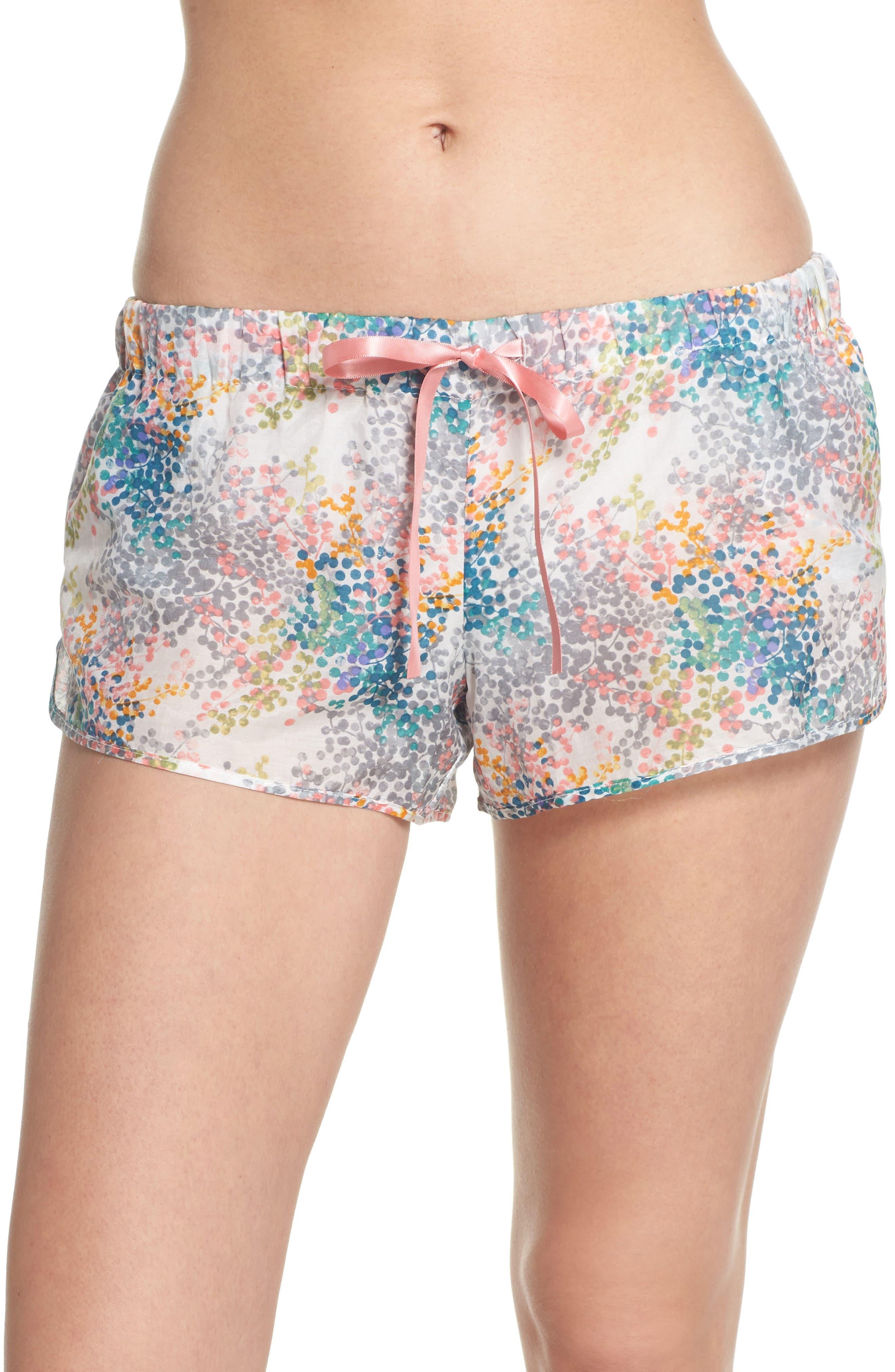 Bouquet Pajama Shorts,                             Main thumbnail 1, color,                             BLUE GREEN