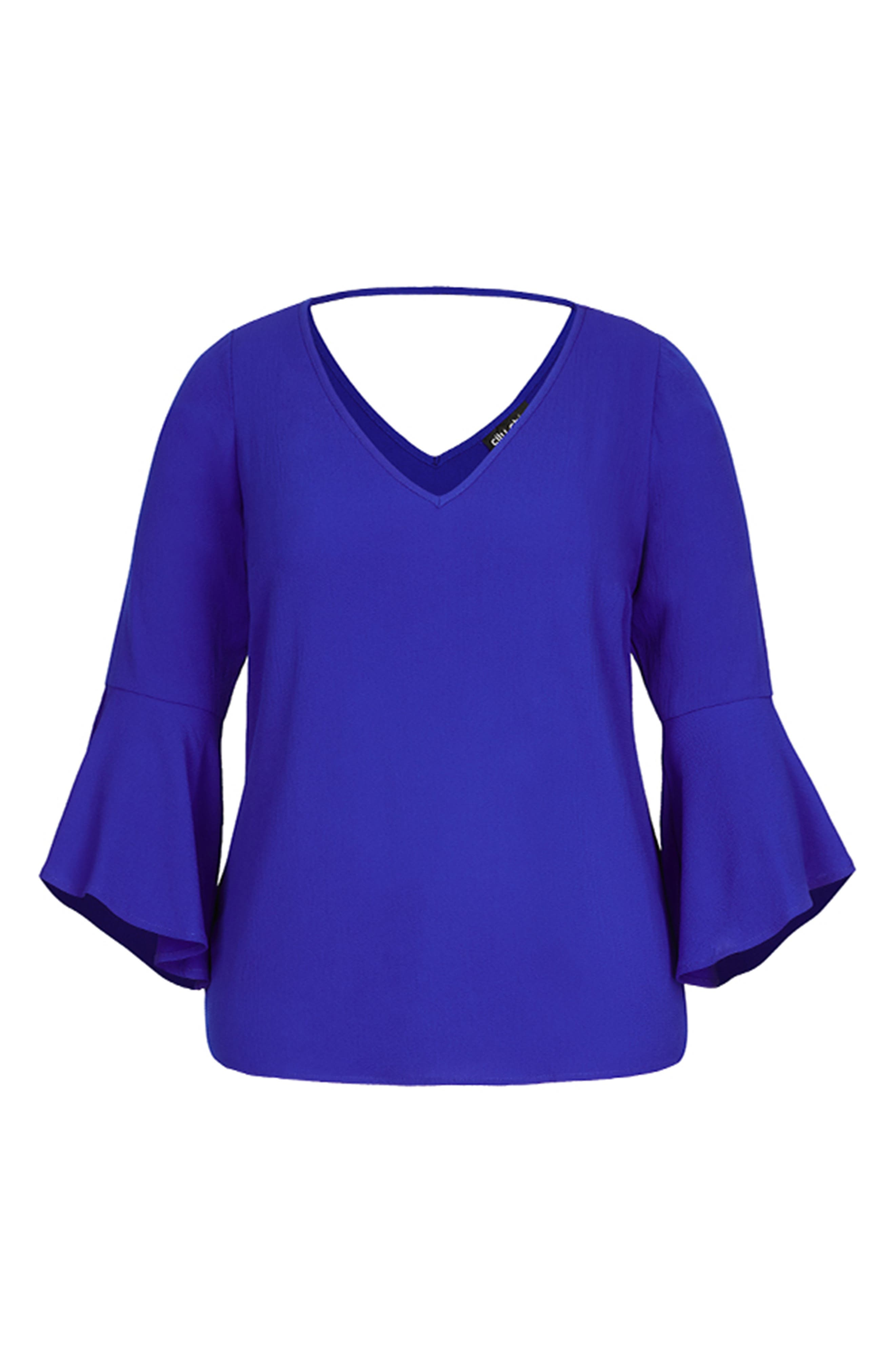 Bell Sleeve Top,                             Alternate thumbnail 4, color,                             ULTRA BLUE