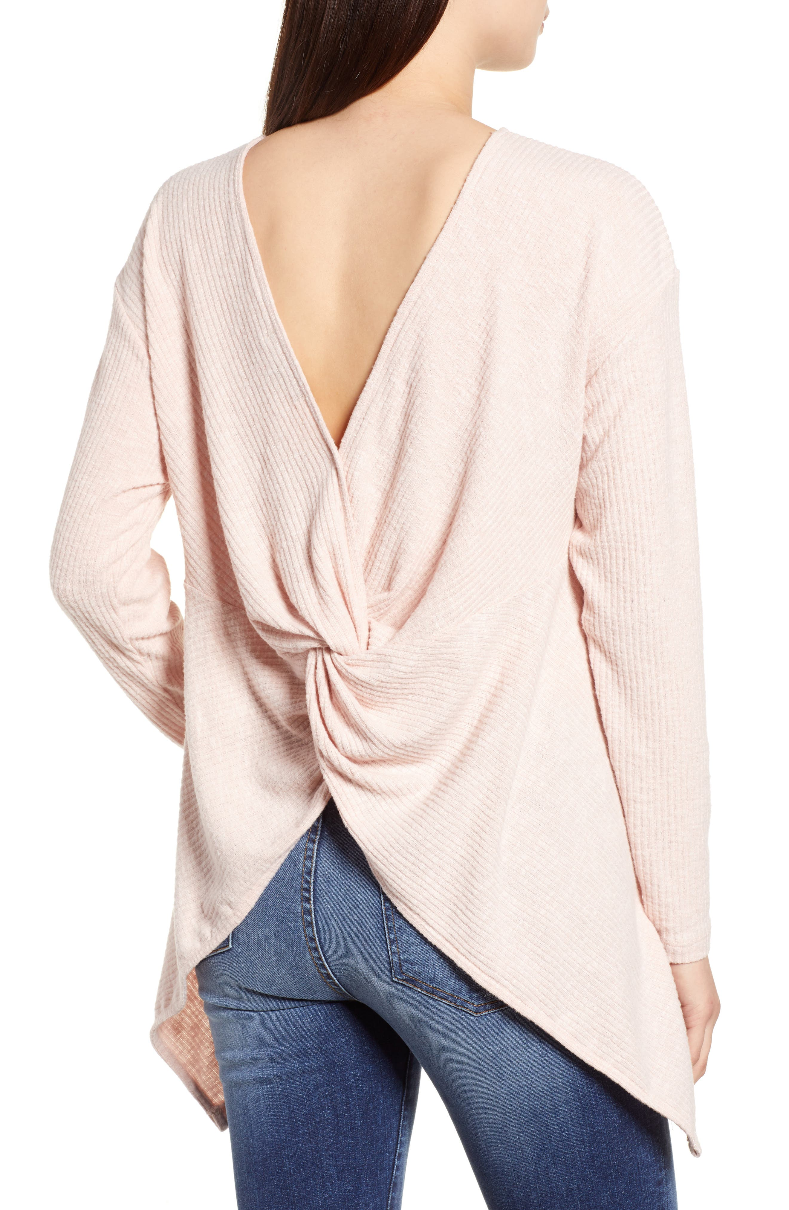 Ribbed Cozy Fleece Twist Back Top,                             Alternate thumbnail 7, color,