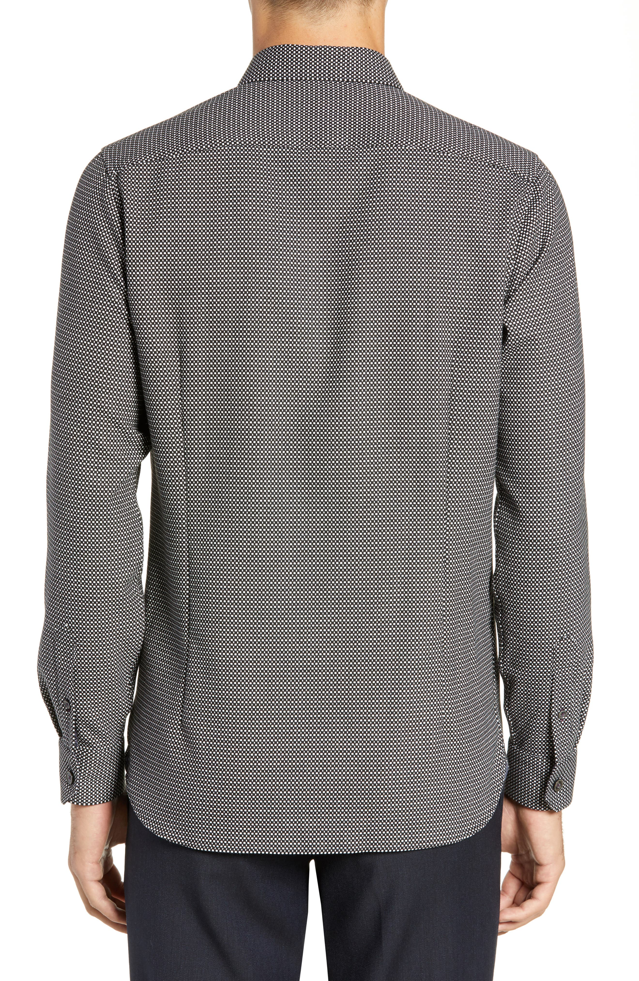 Wapping Slim Fit Textured Shirt,                             Alternate thumbnail 3, color,                             BLACK