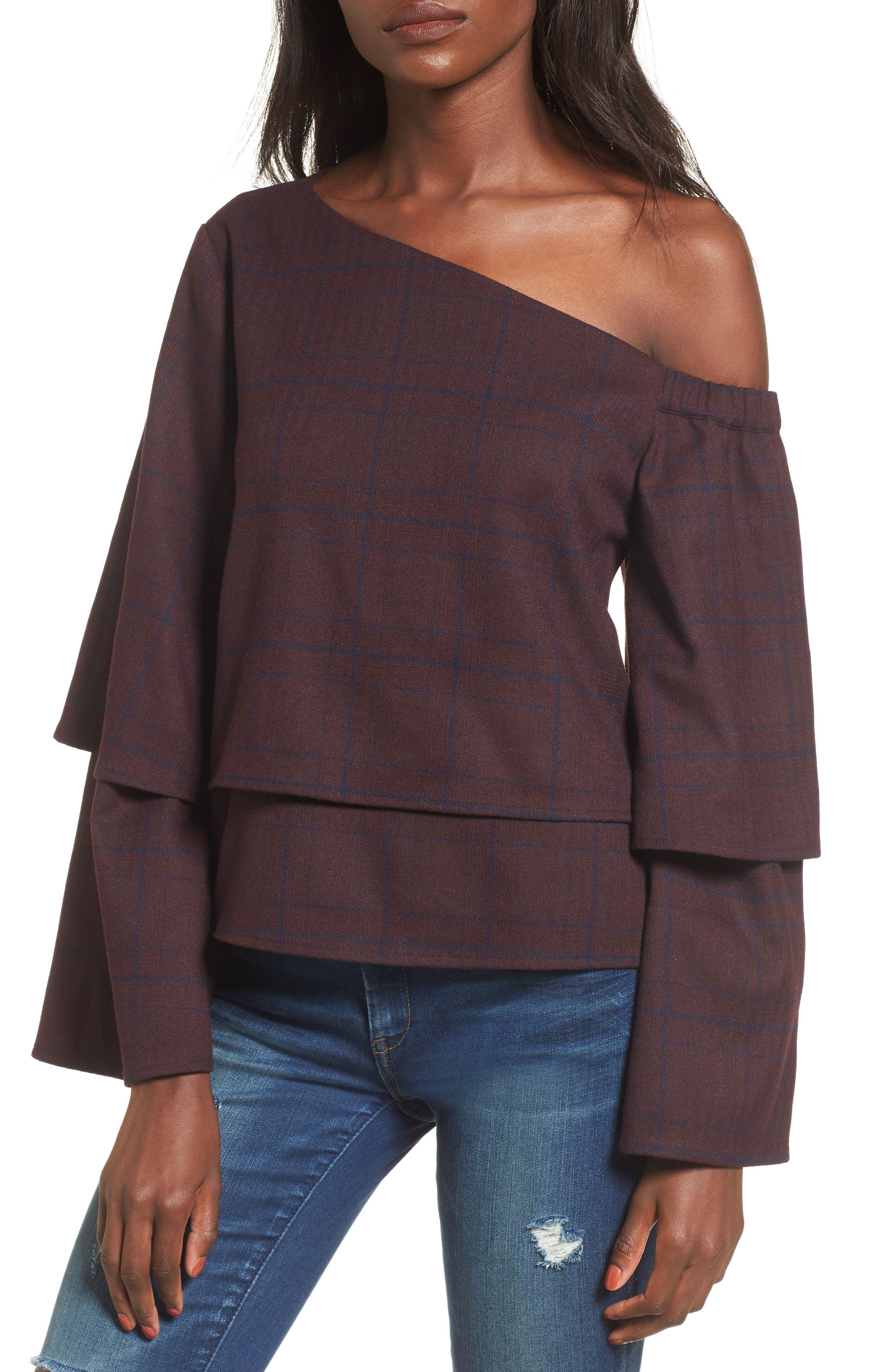 Asymmetric Ruffle Sleeve Top,                         Main,                         color, 500