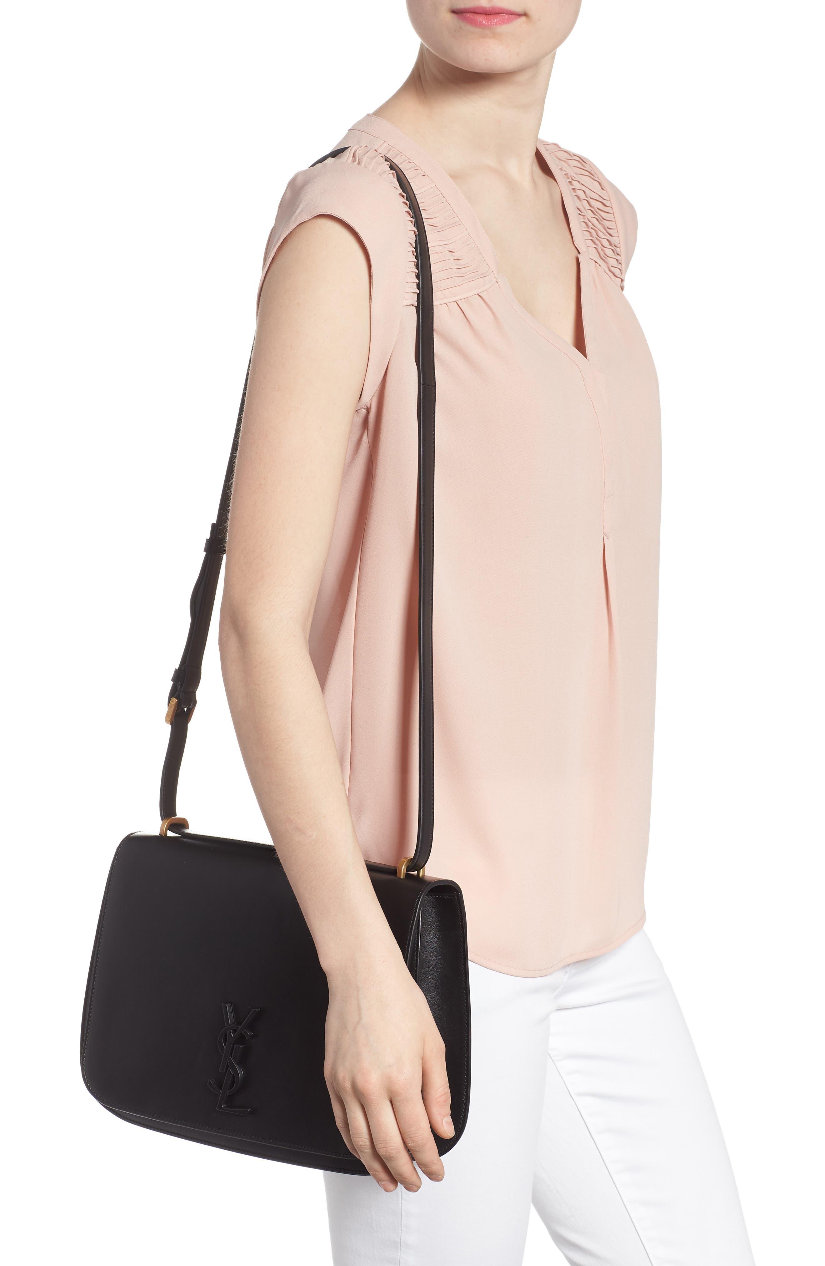 Medium Spontini Leather Shoulder Bag,                             Alternate thumbnail 2, color,                             NERO