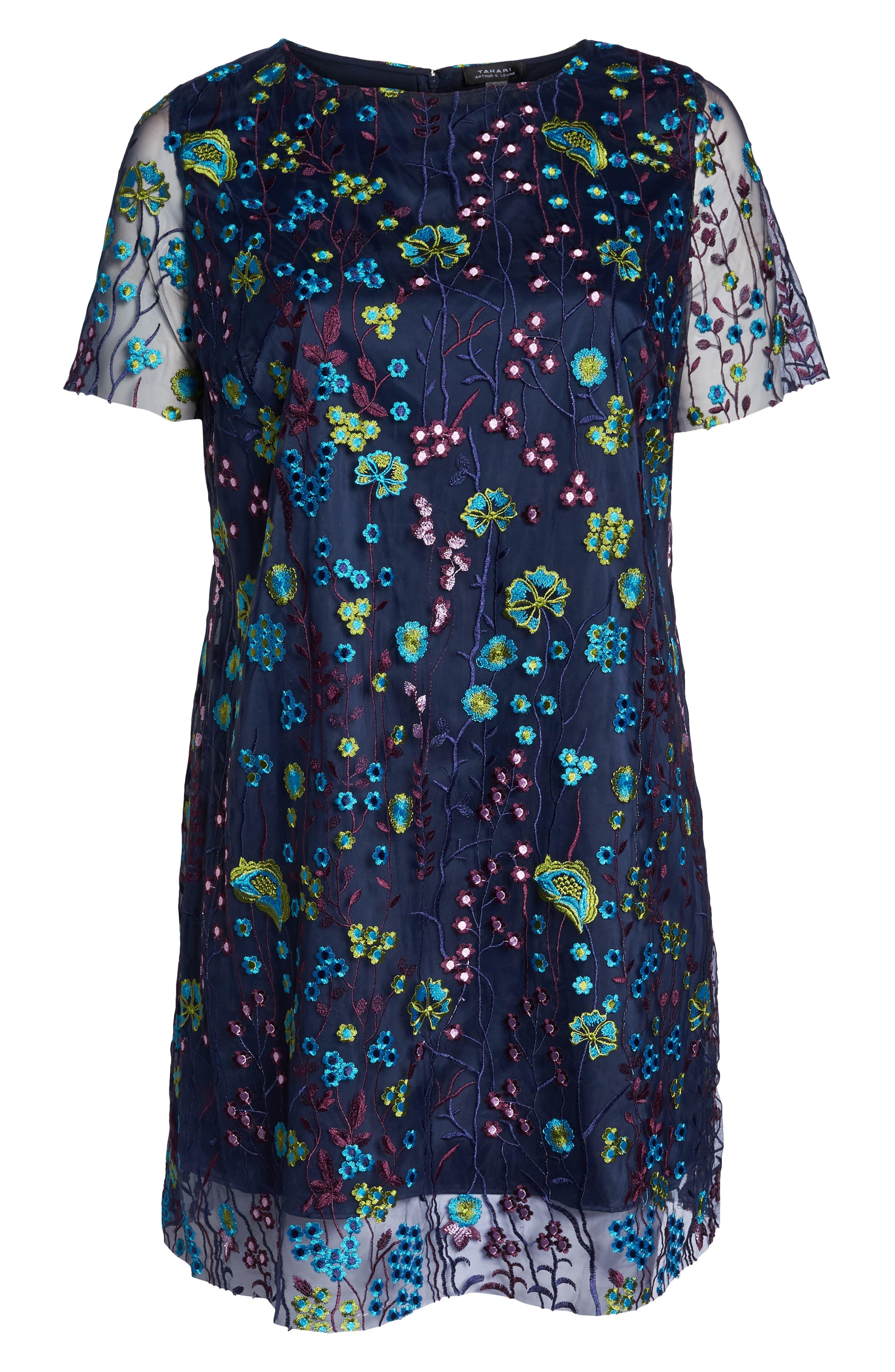 Mesh Embroidered Shift Dress,                             Alternate thumbnail 7, color,                             478