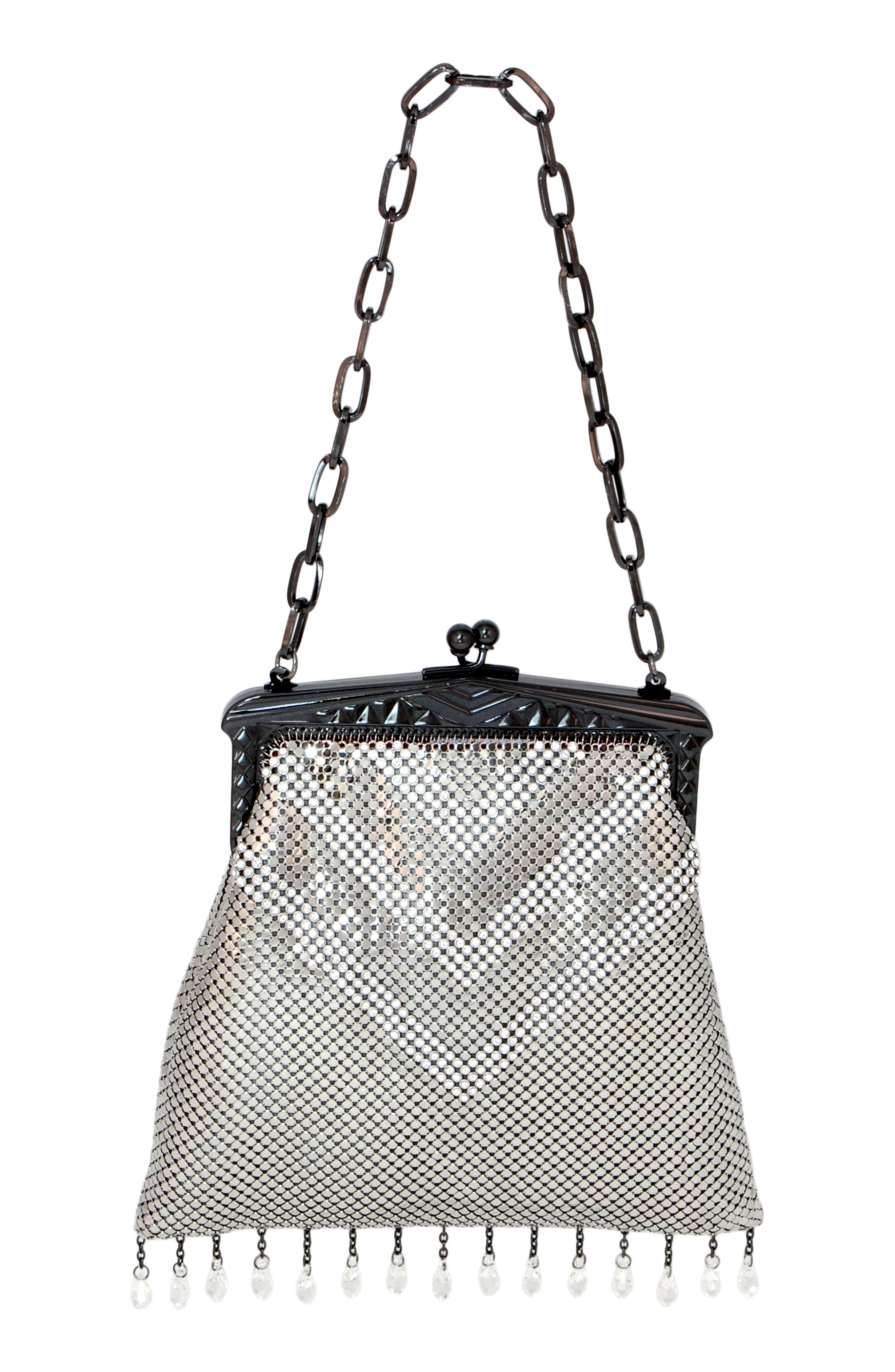 'Heritage - Deco' Mesh Clutch,                             Alternate thumbnail 2, color,                             PEWTER