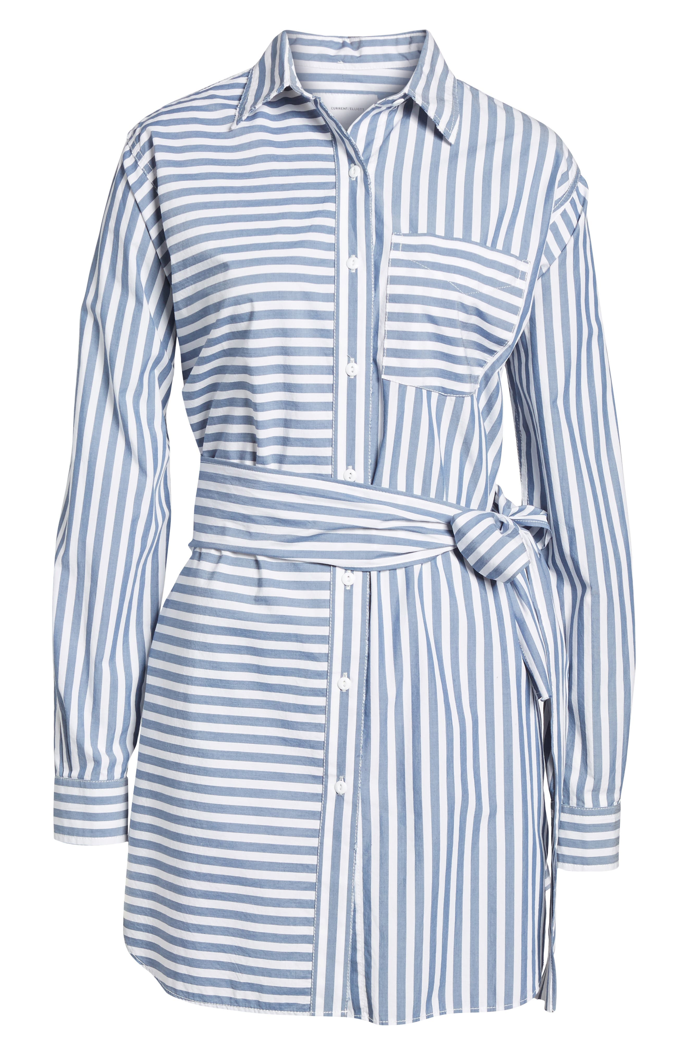 The Alda Stripe Belted Shirtdress,                             Alternate thumbnail 6, color,                             497