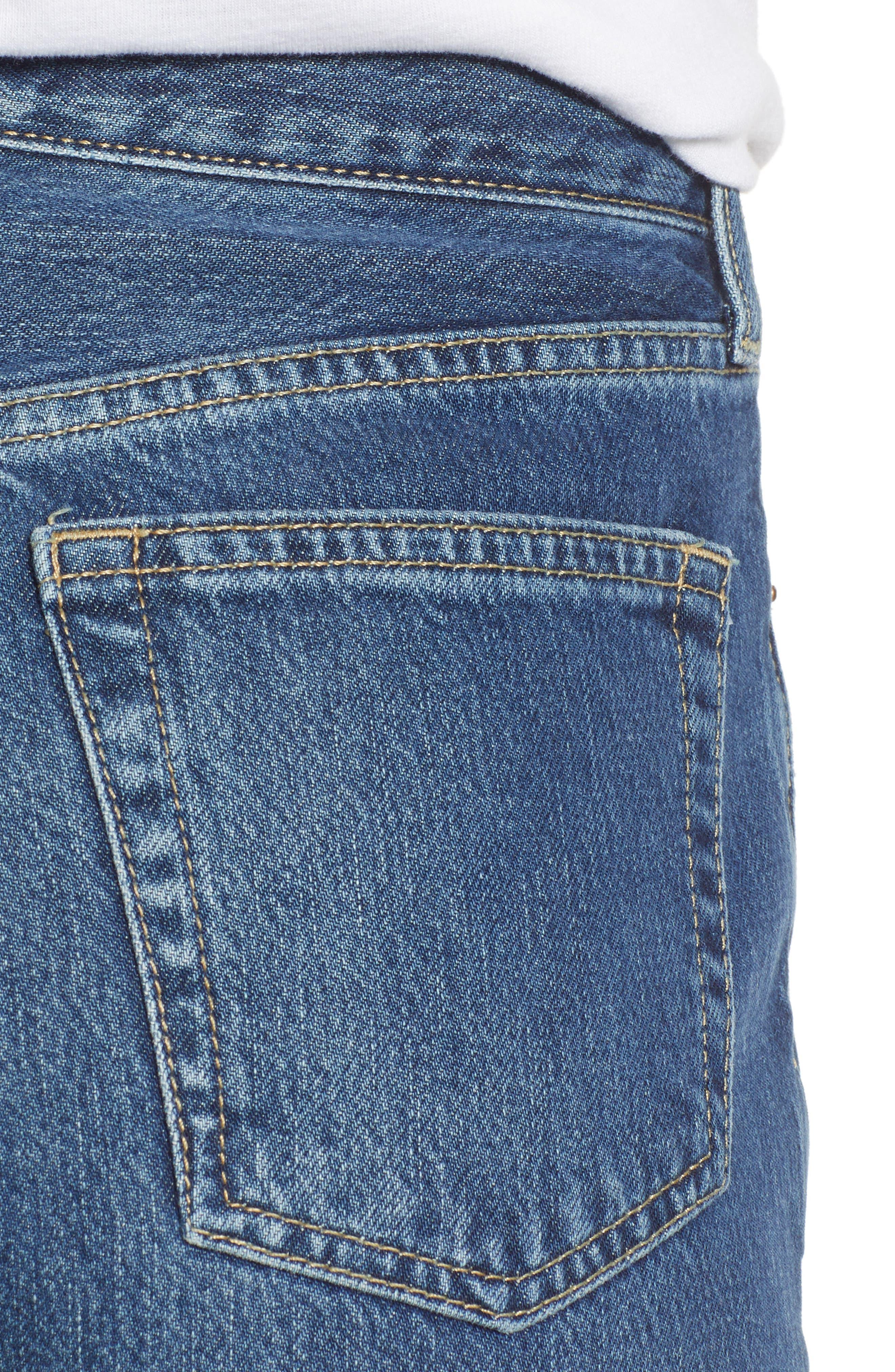 TOPSHOP,                             New Boyfriend Jeans,                             Alternate thumbnail 4, color,                             MID BLUE