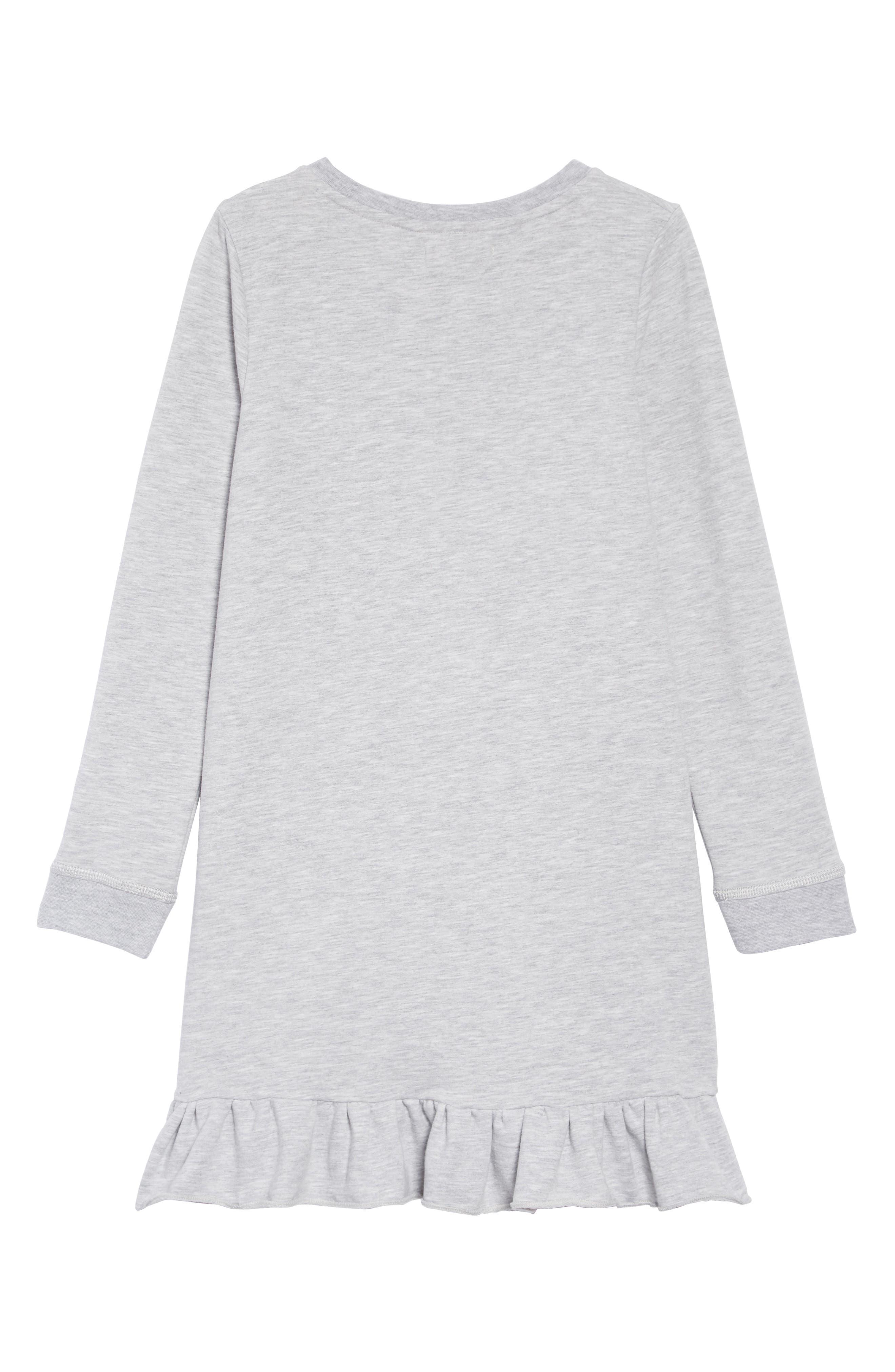 Ruffle Hem Fleece Dress,                             Alternate thumbnail 2, color,                             GREY ASH HEATHER