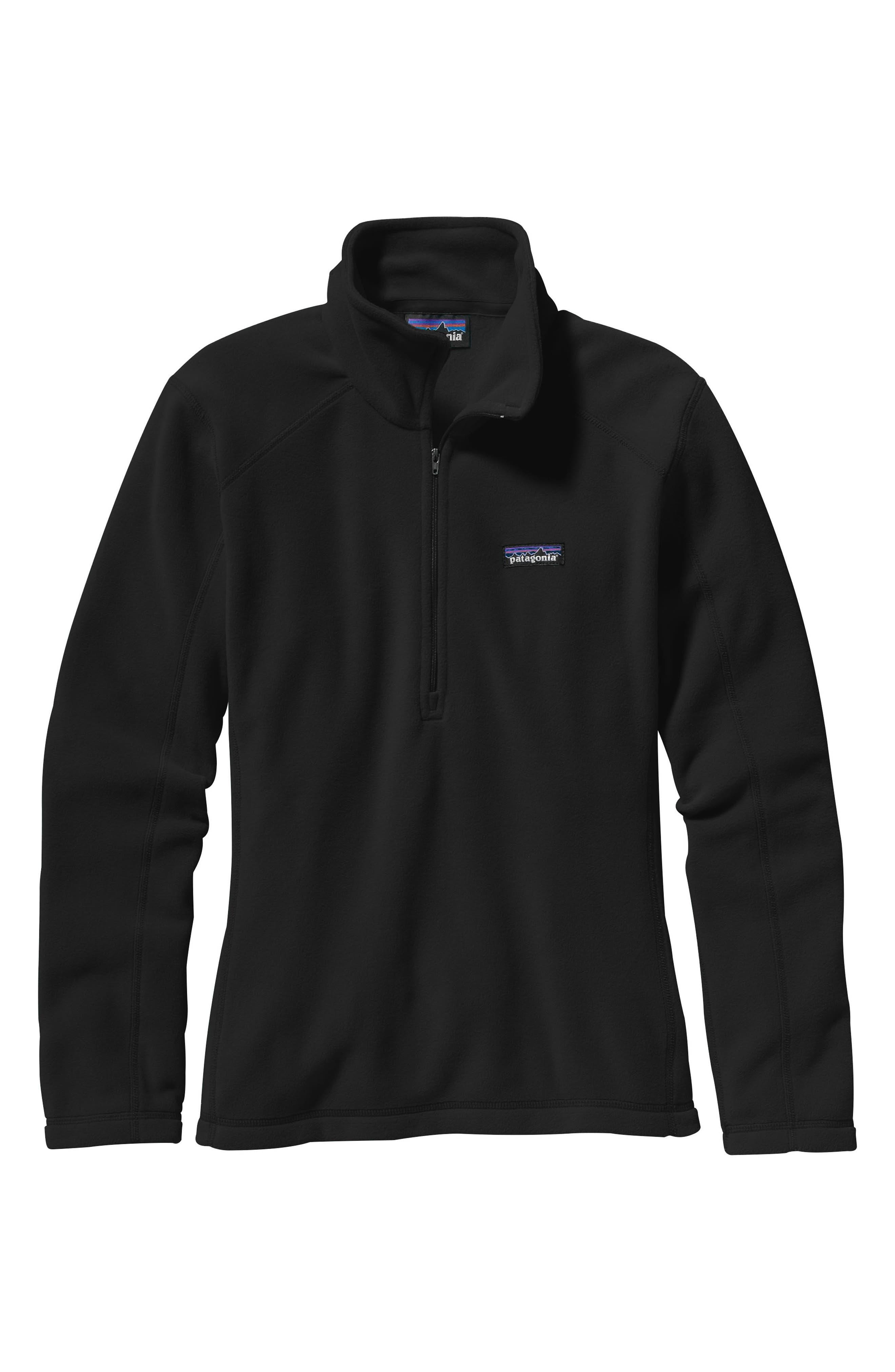 PATAGONIA,                             Micro D<sup>®</sup> Quarter-Zip Fleece Pullover,                             Main thumbnail 1, color,                             BLACK