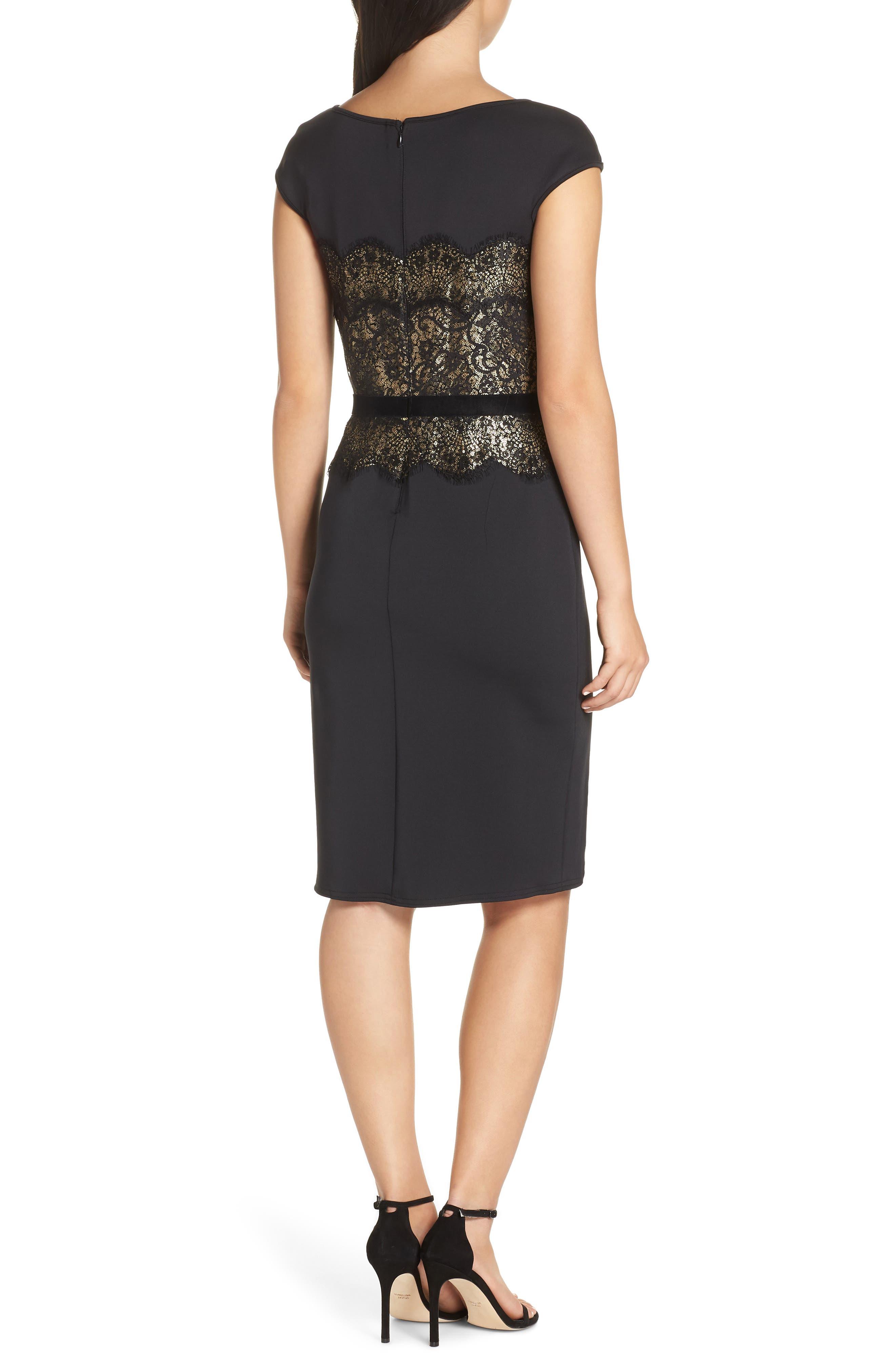 Lace Inset Scuba Dress,                             Alternate thumbnail 3, color,                             BLACK/ GOLD