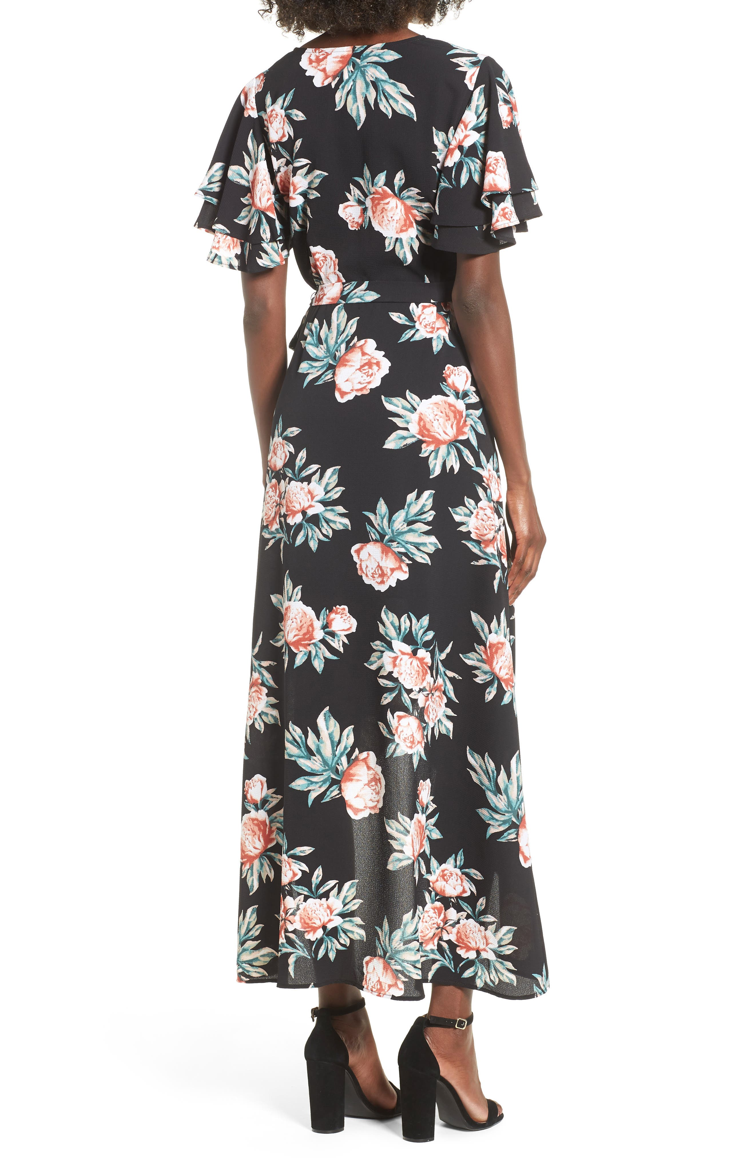 MIMI CHICA,                             Ruffle Sleeve Floral Maxi Dress,                             Alternate thumbnail 2, color,                             001