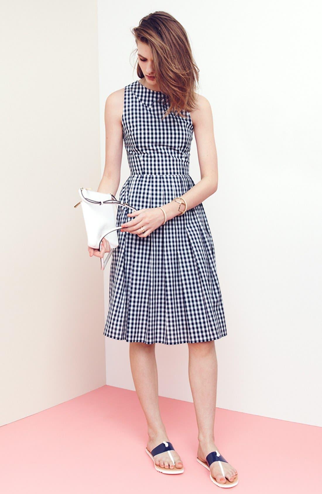 Gingham Cotton Fit & Flare Midi Dress,                             Alternate thumbnail 4, color,                             400