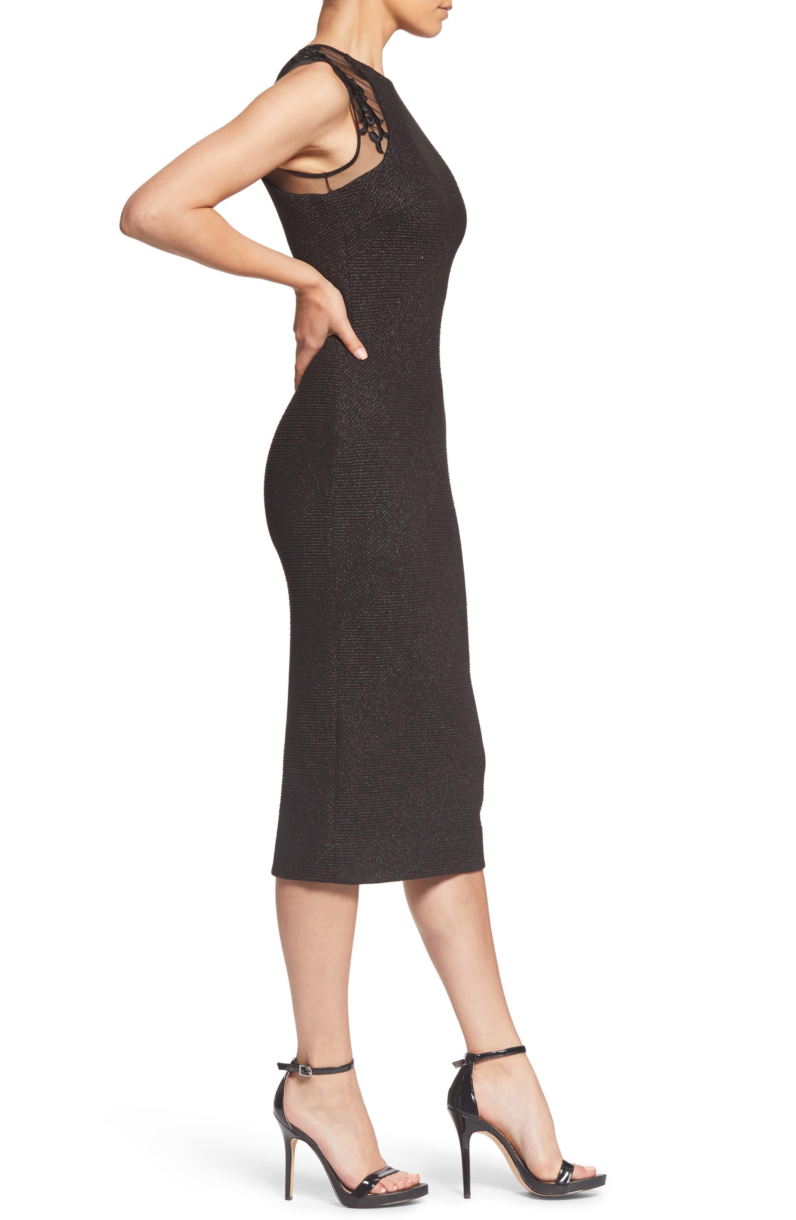 Skylar Embellished Sheath Dress,                             Alternate thumbnail 3, color,                             BLACK