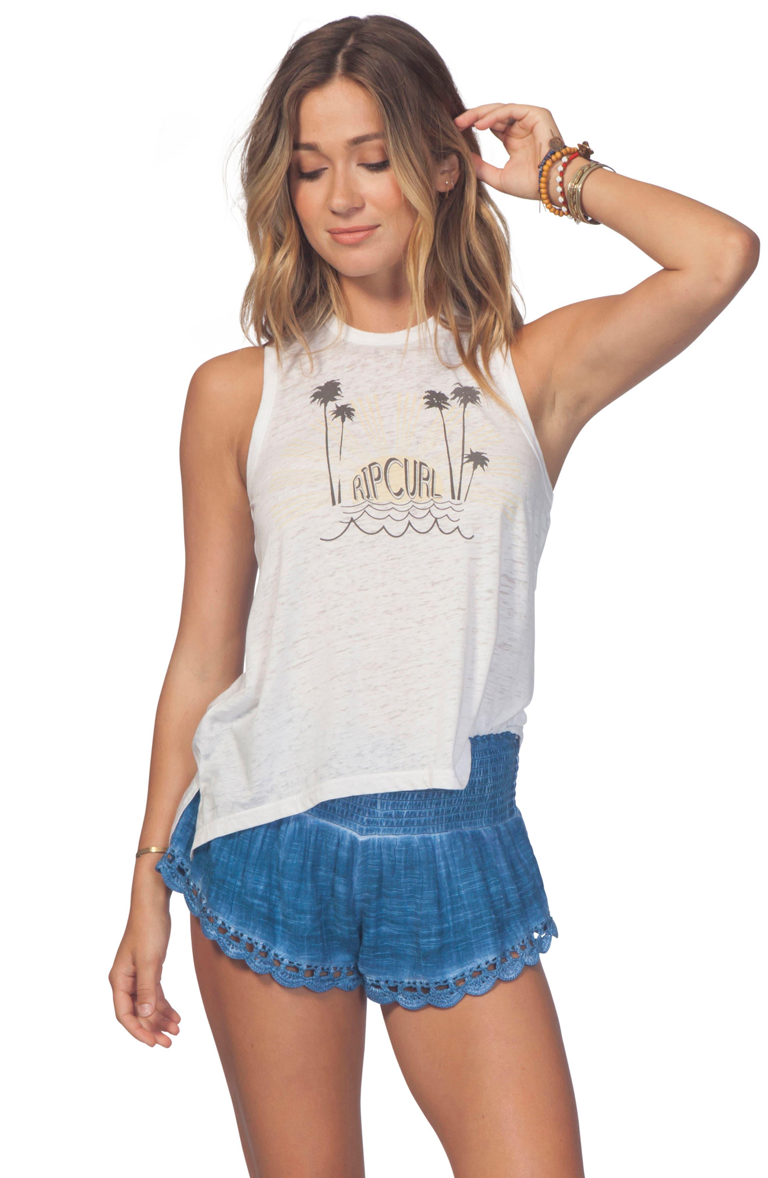 Dream Beam Cotton Beach Shorts,                             Alternate thumbnail 4, color,                             MID BLUE