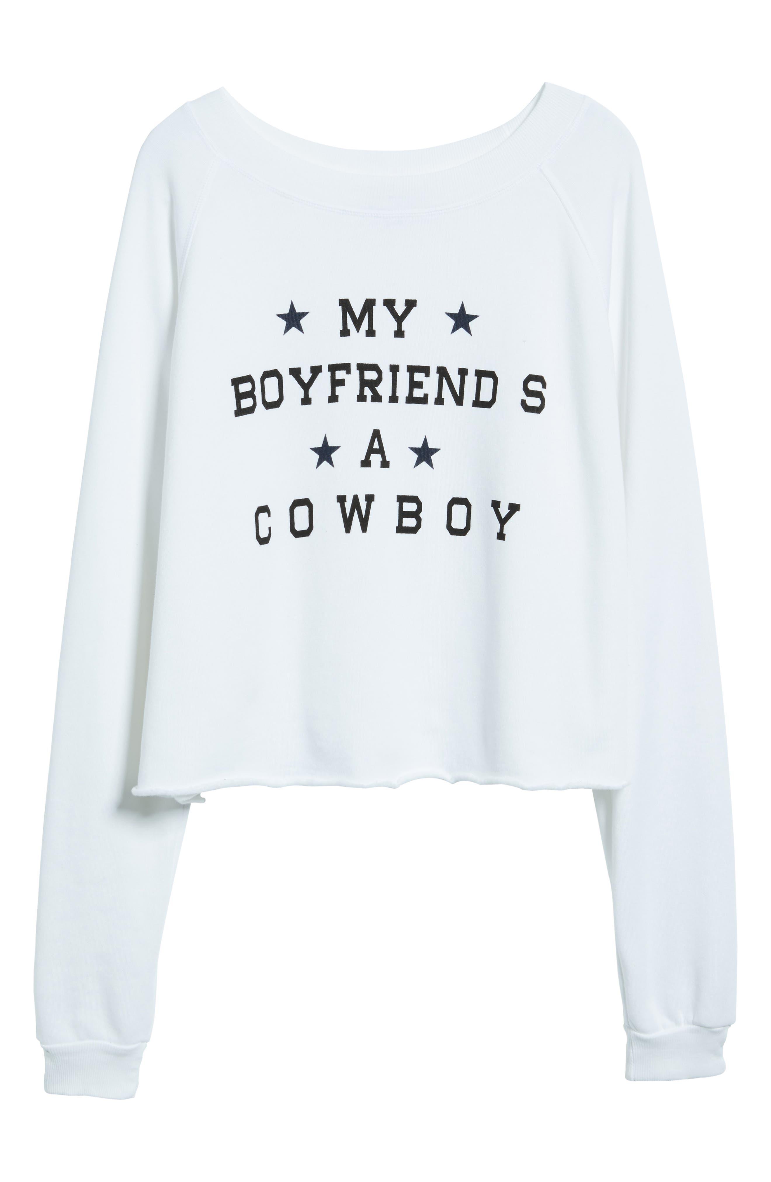 My Boyfriend's a Cowboy Crop Sweatshirt,                             Alternate thumbnail 6, color,