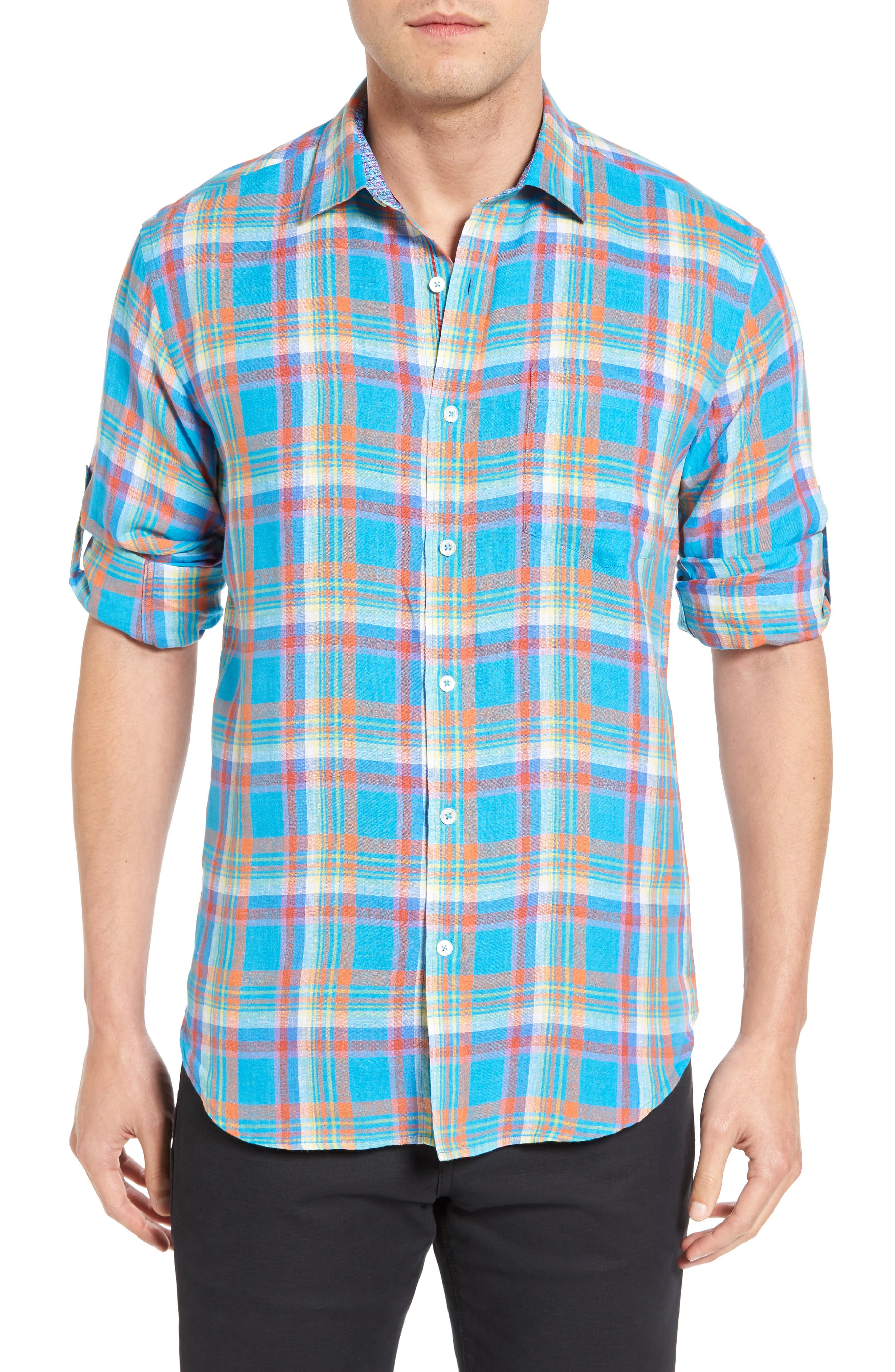 Shaped Fit Plaid Linen Sport Shirt,                             Main thumbnail 1, color,