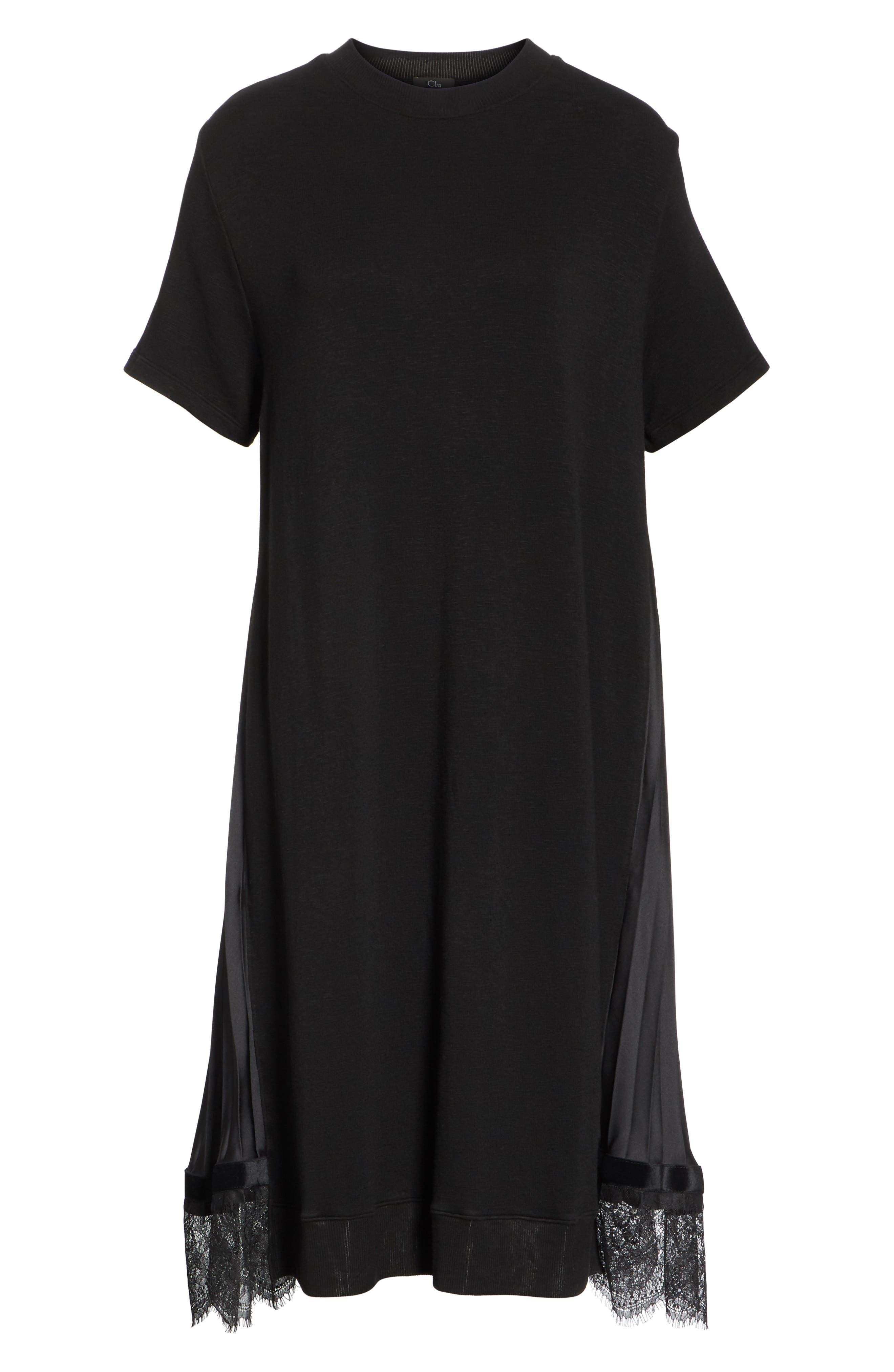Pleat Back Midi Dress,                             Alternate thumbnail 6, color,                             001