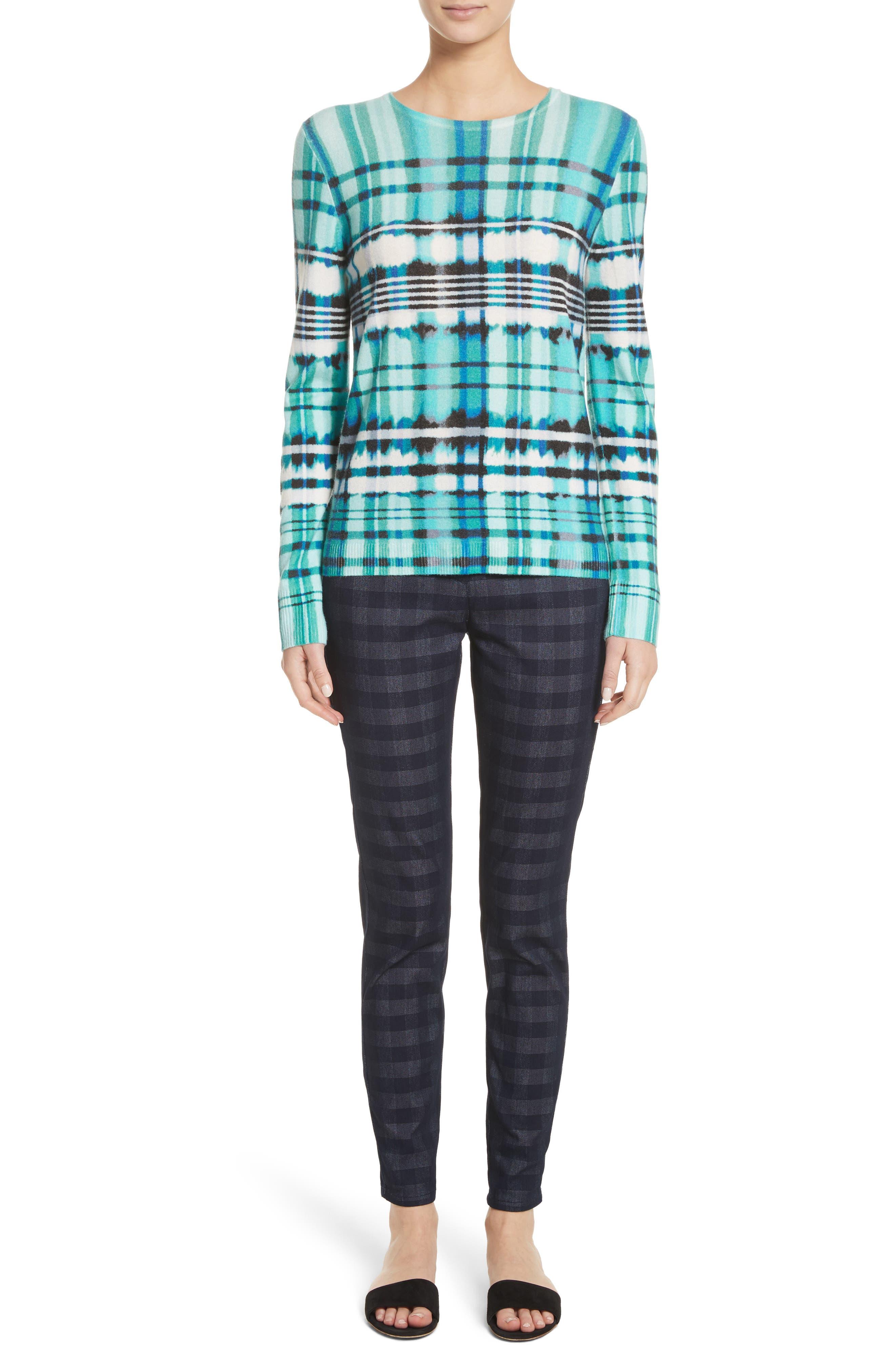 Overprint Plaid Cashmere Sweater,                             Alternate thumbnail 7, color,                             350