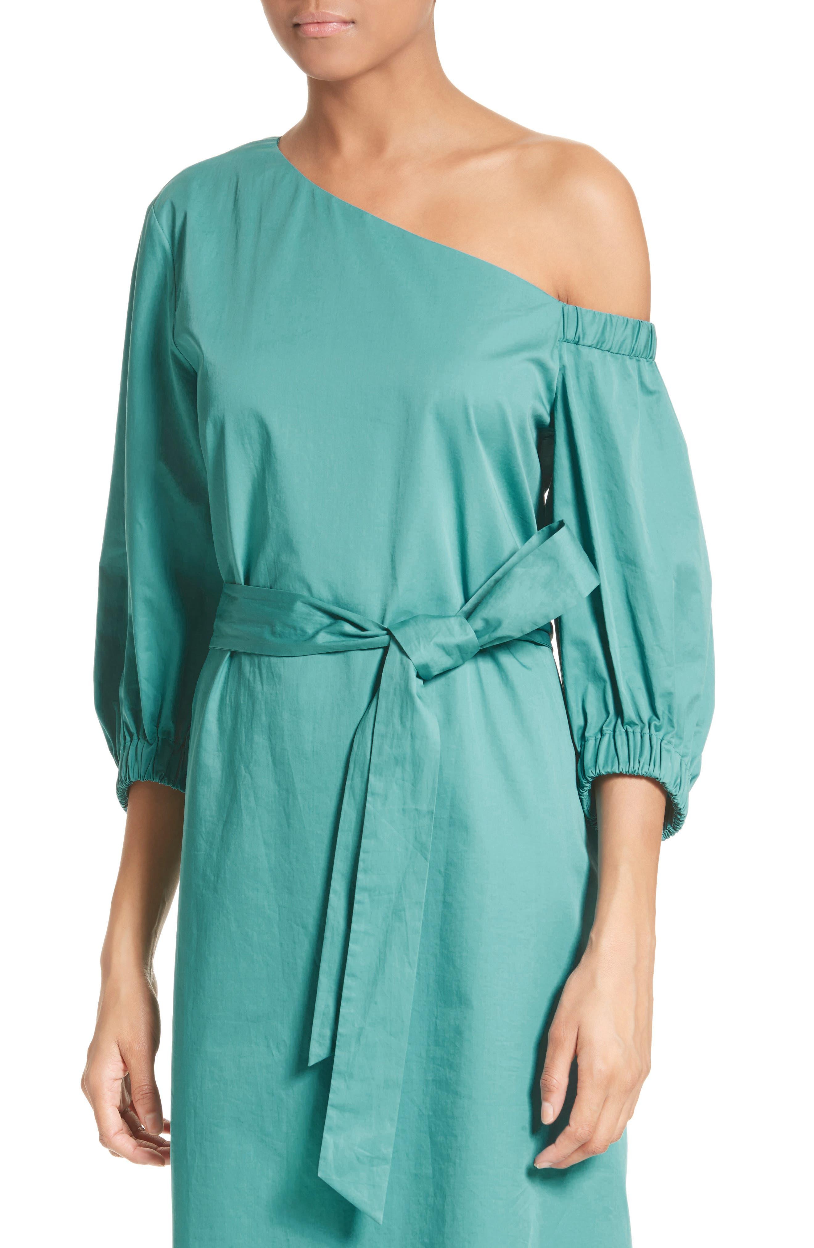 Cotton One-Shoulder Dress,                             Alternate thumbnail 4, color,                             442