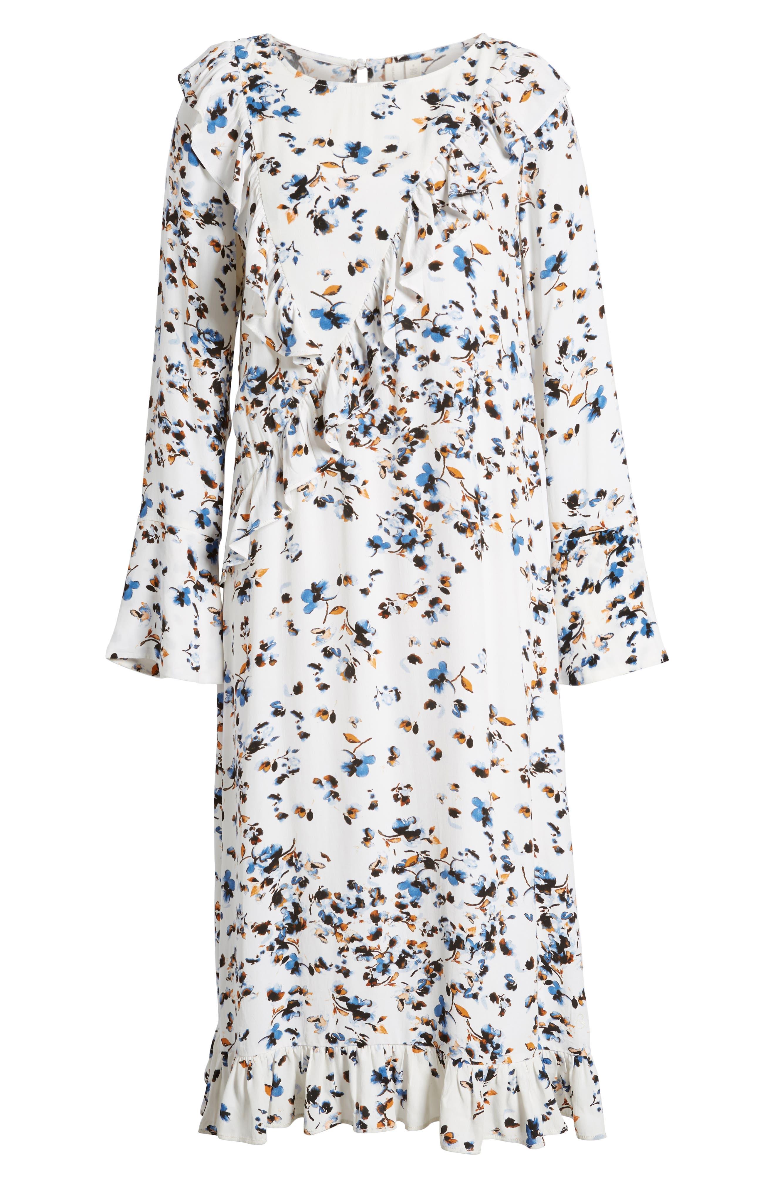 Print Ruffle Maxi Dress,                             Alternate thumbnail 6, color,                             100