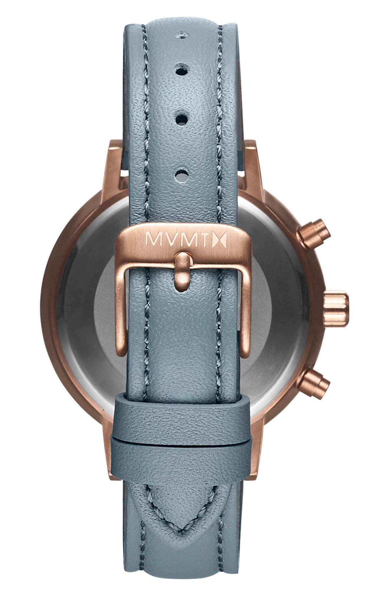 MVMT,                             Nova Chronograph Leather Strap Watch, 38mm,                             Alternate thumbnail 2, color,                             SLATE/ BEIGE/ ROSE GOLD
