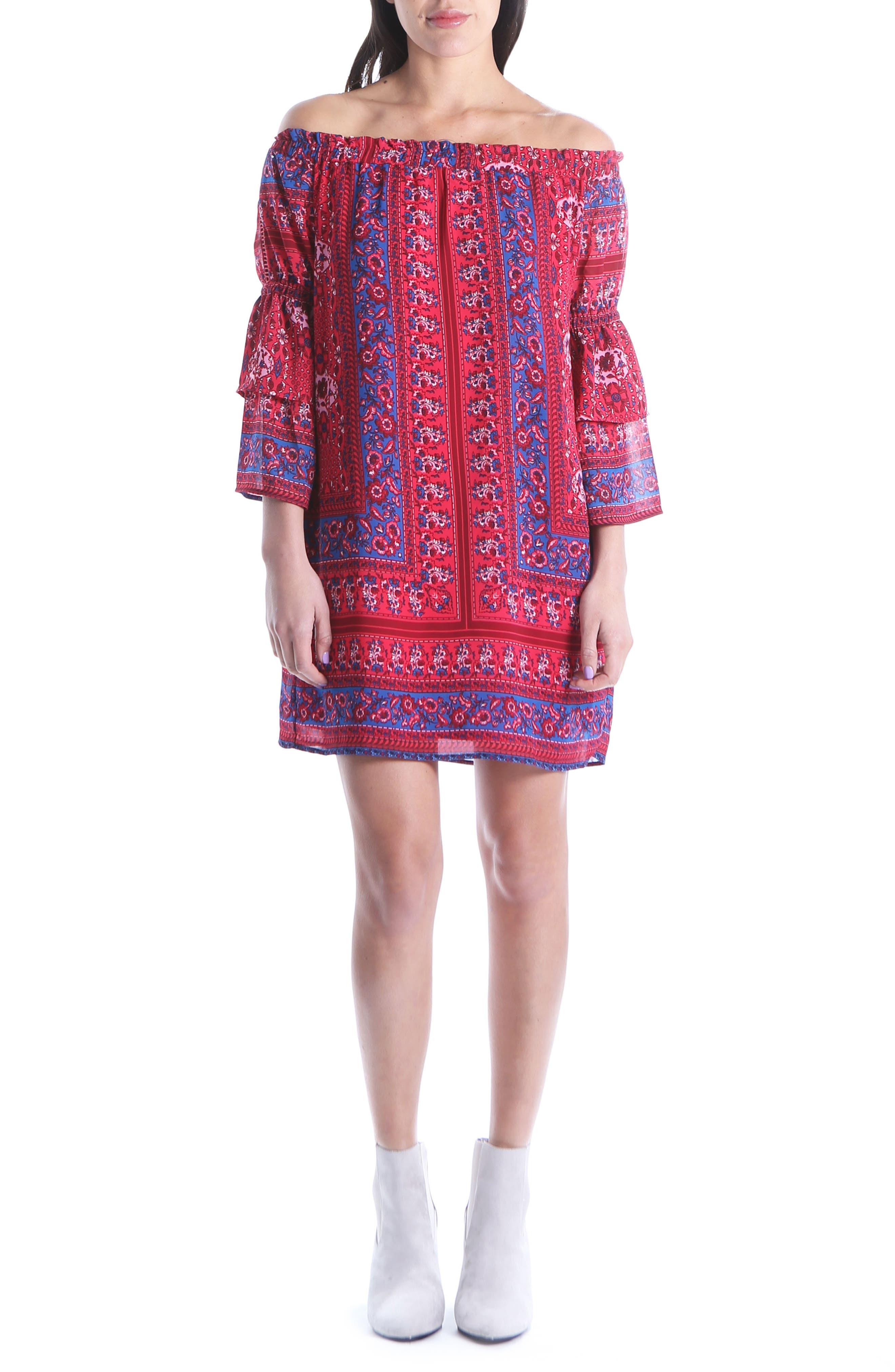 Jaida Off the Shoulder Ruffle Sleeve Dress,                             Main thumbnail 1, color,                             BRIGHT RED