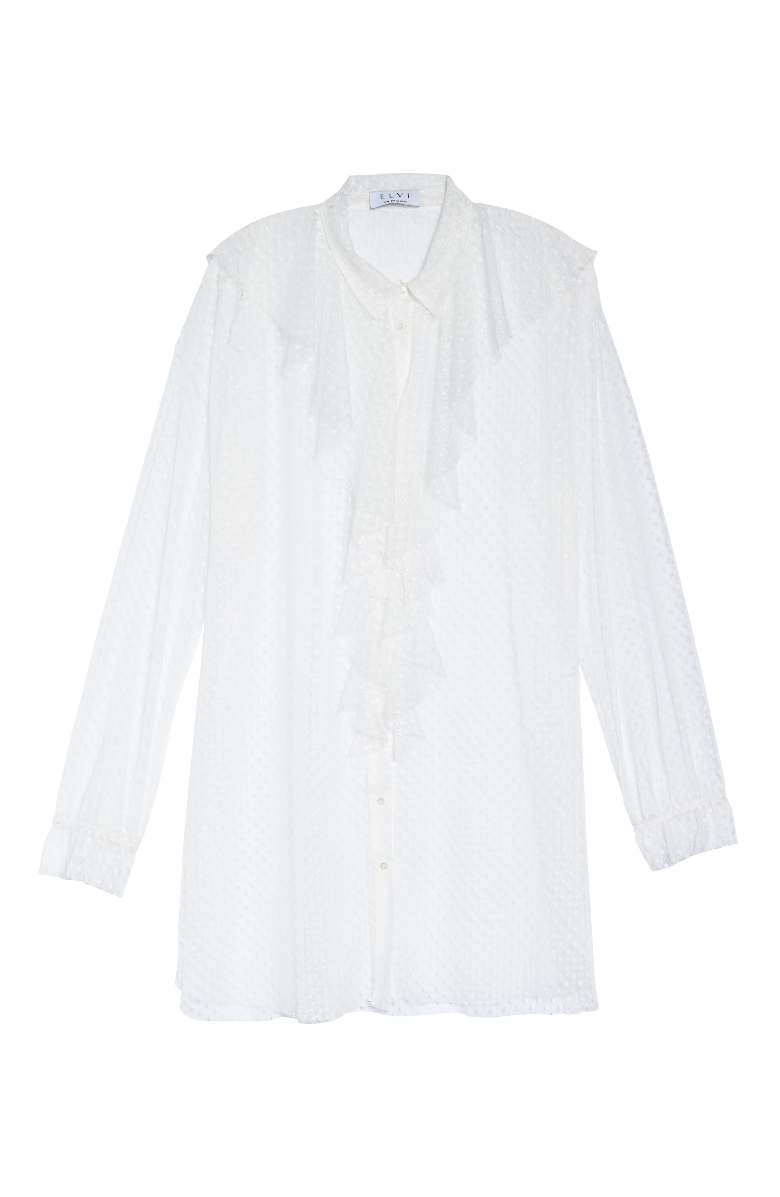Polka Dot Mesh Ruffle Tunic Shirt,                             Alternate thumbnail 7, color,