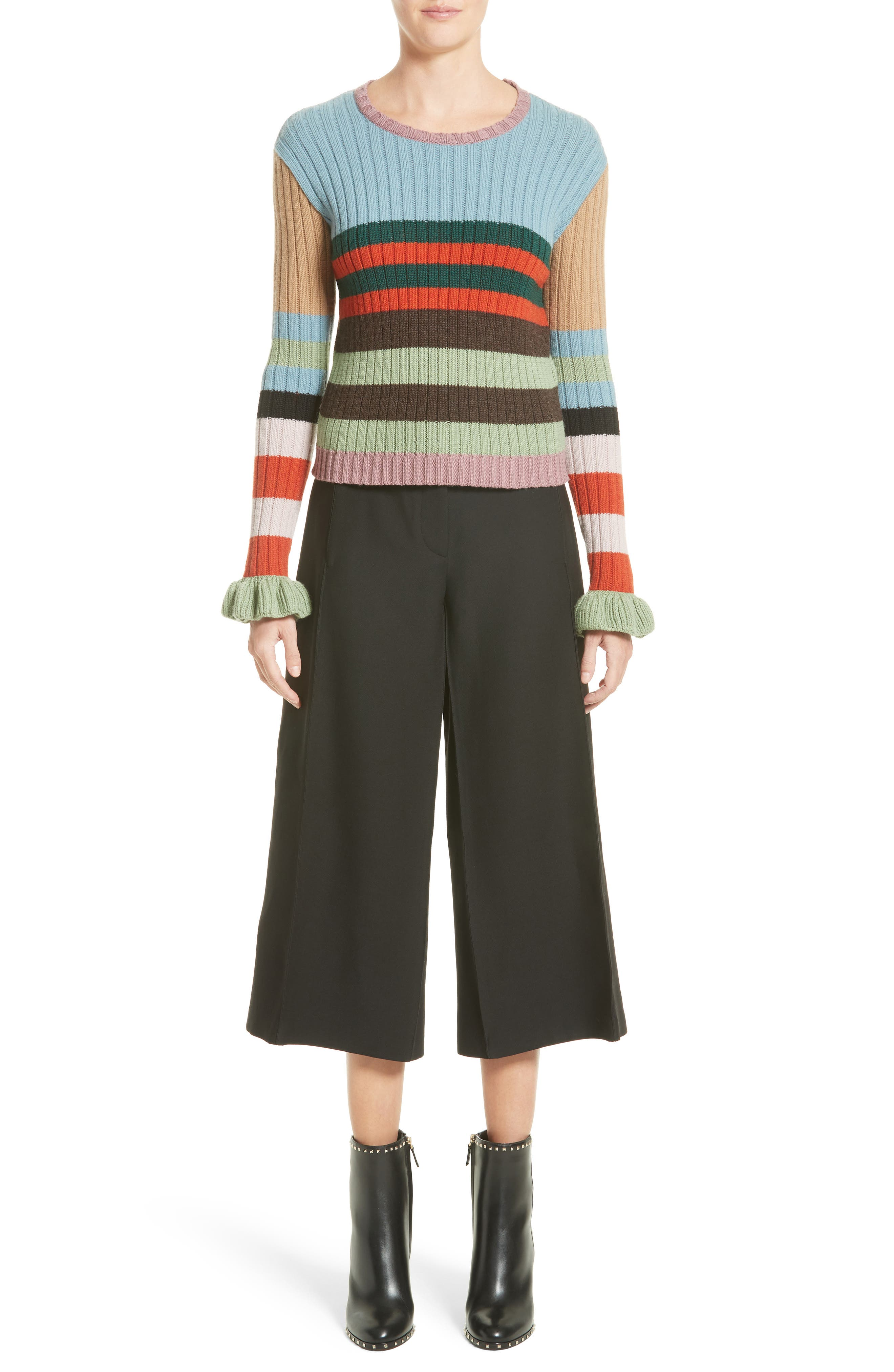 Stripe Wool Sweater,                             Alternate thumbnail 6, color,                             020