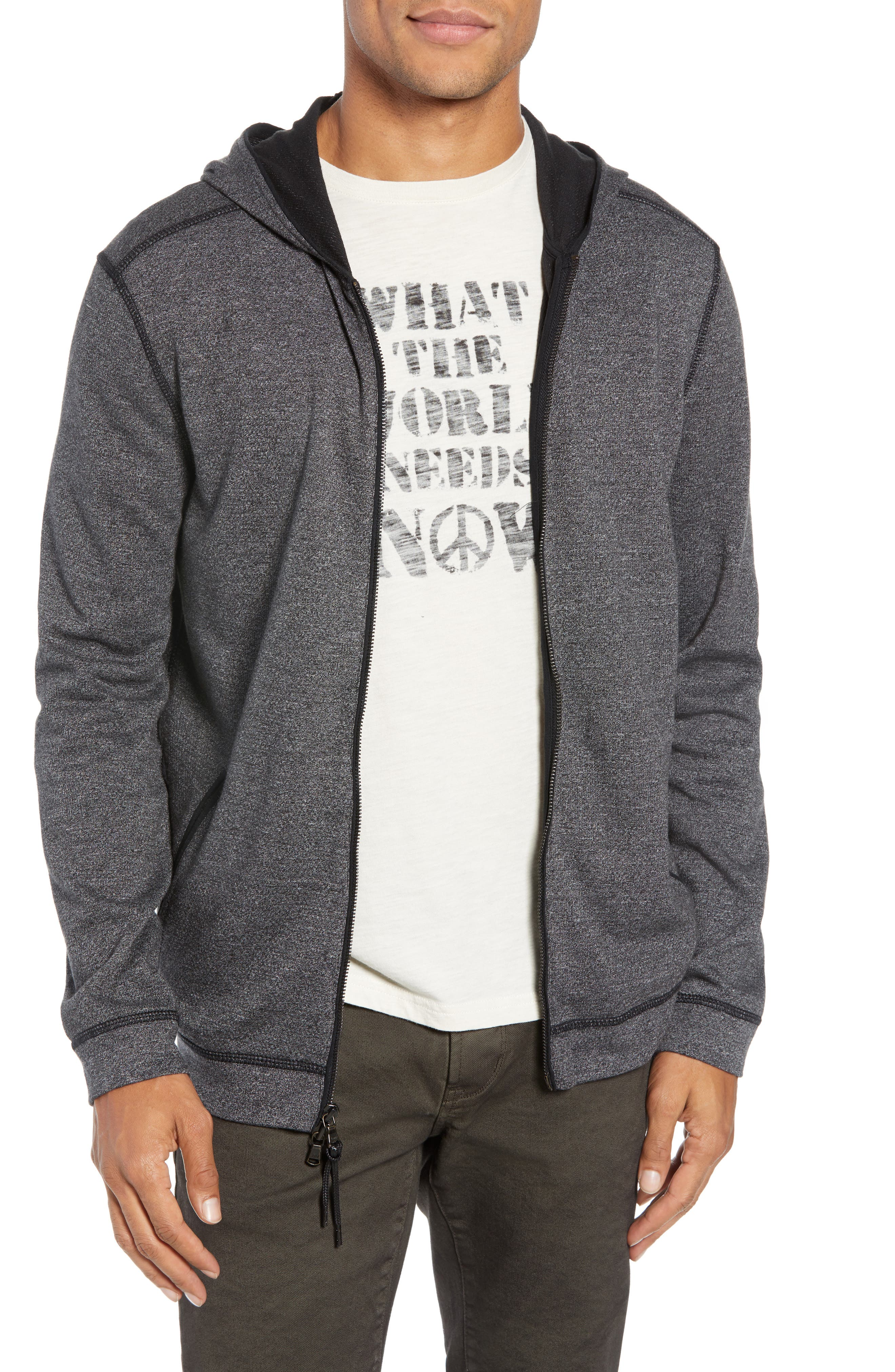 Doubleknit Zip Hoodie,                             Main thumbnail 1, color,                             CHARCOAL HEATHER