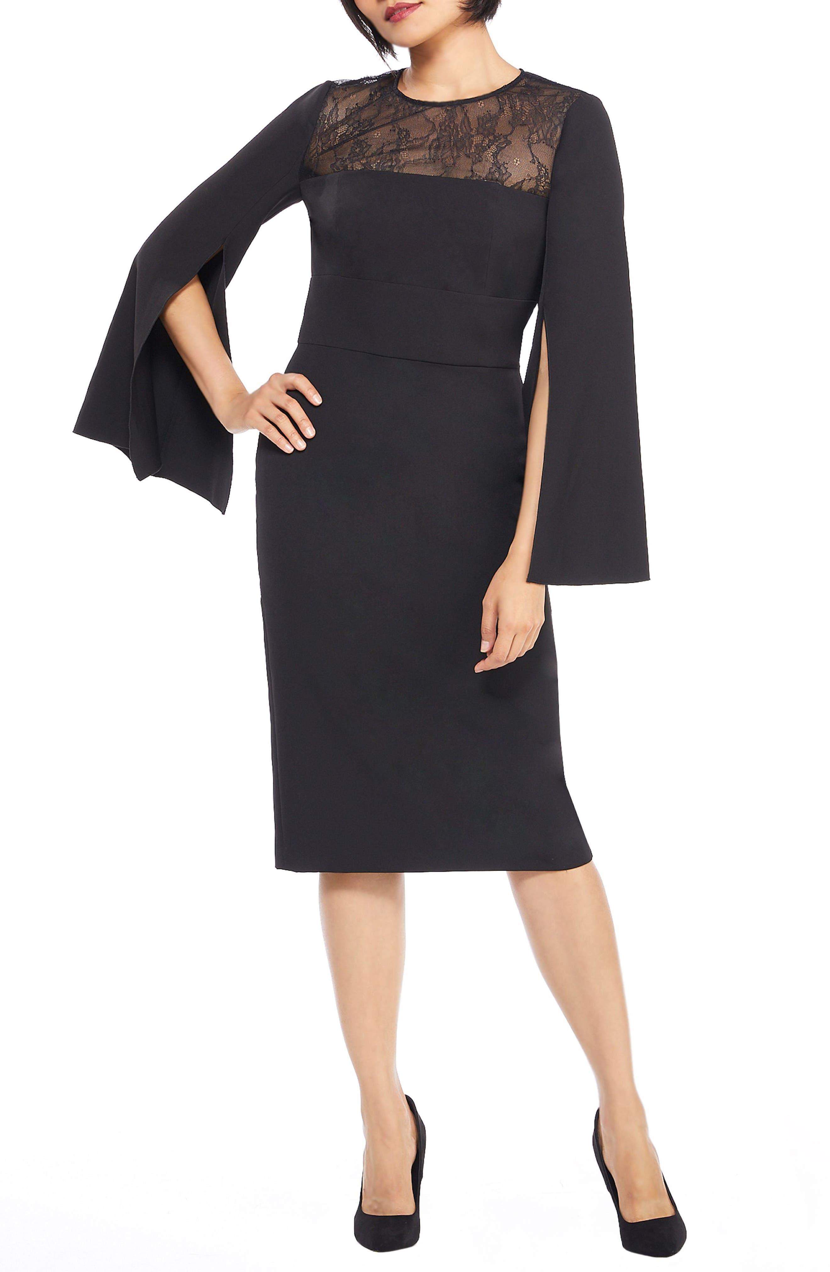 Maggy London Crepe & Lace Sheath Dress, Black