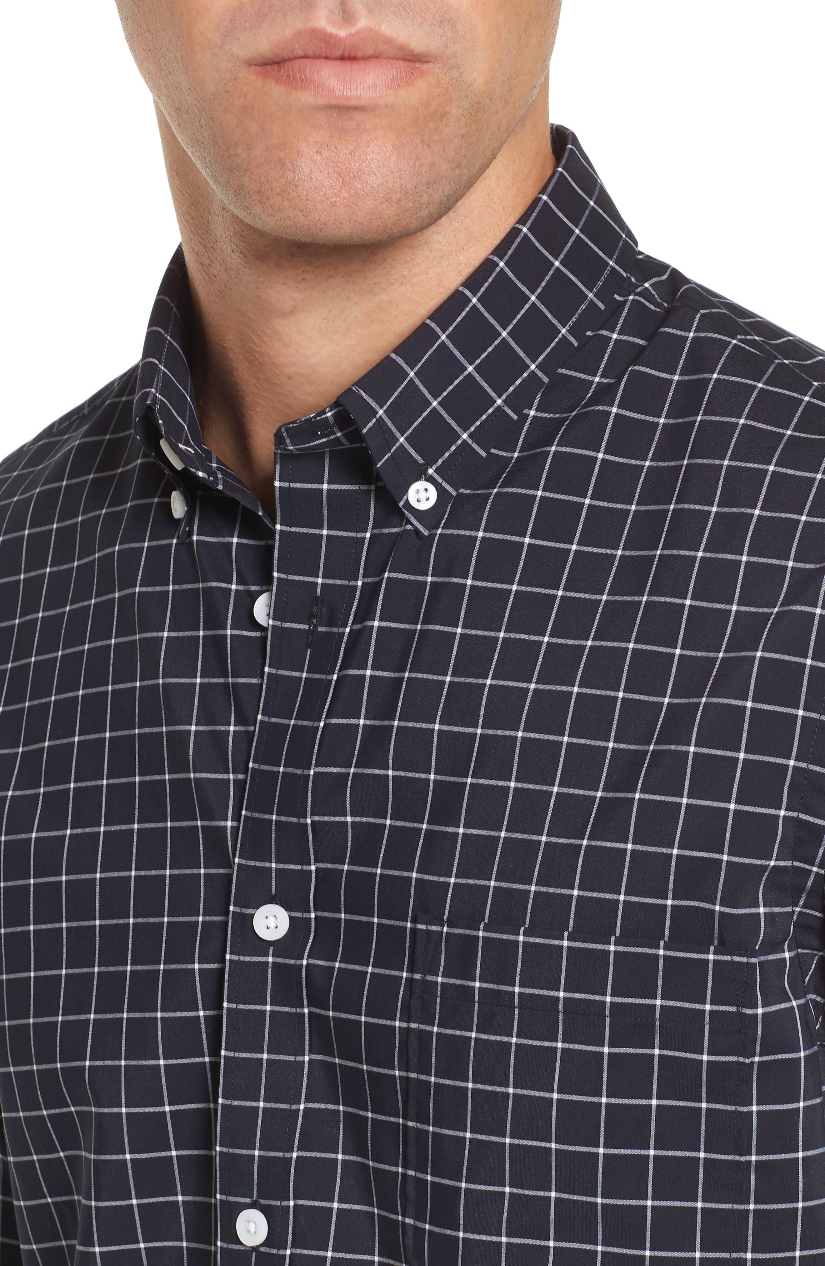 Slim Fit Tech-Smart Grid Sport Shirt,                             Alternate thumbnail 4, color,