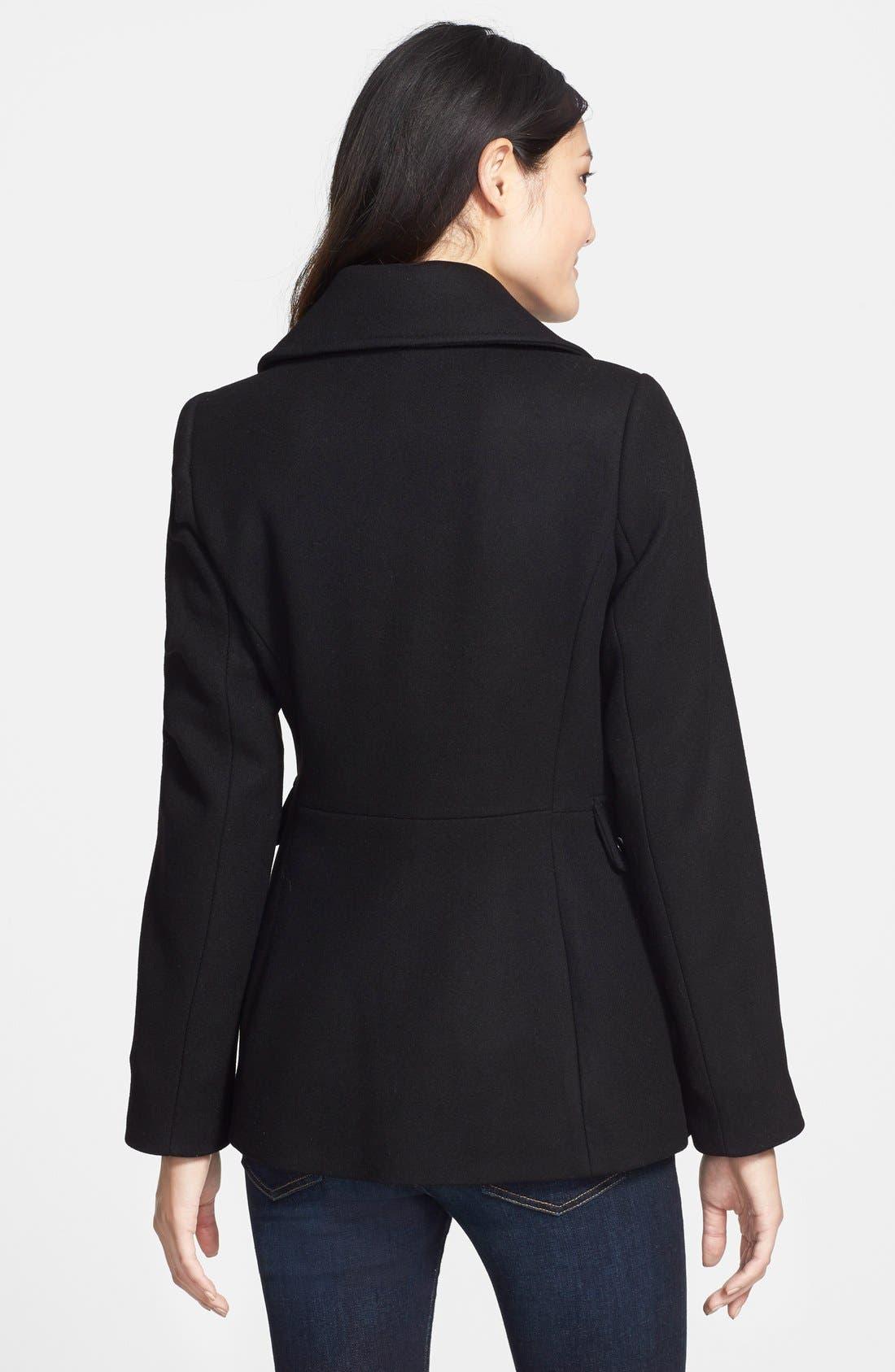 Asymmetrical Wool Blend Coat,                             Alternate thumbnail 3, color,                             001
