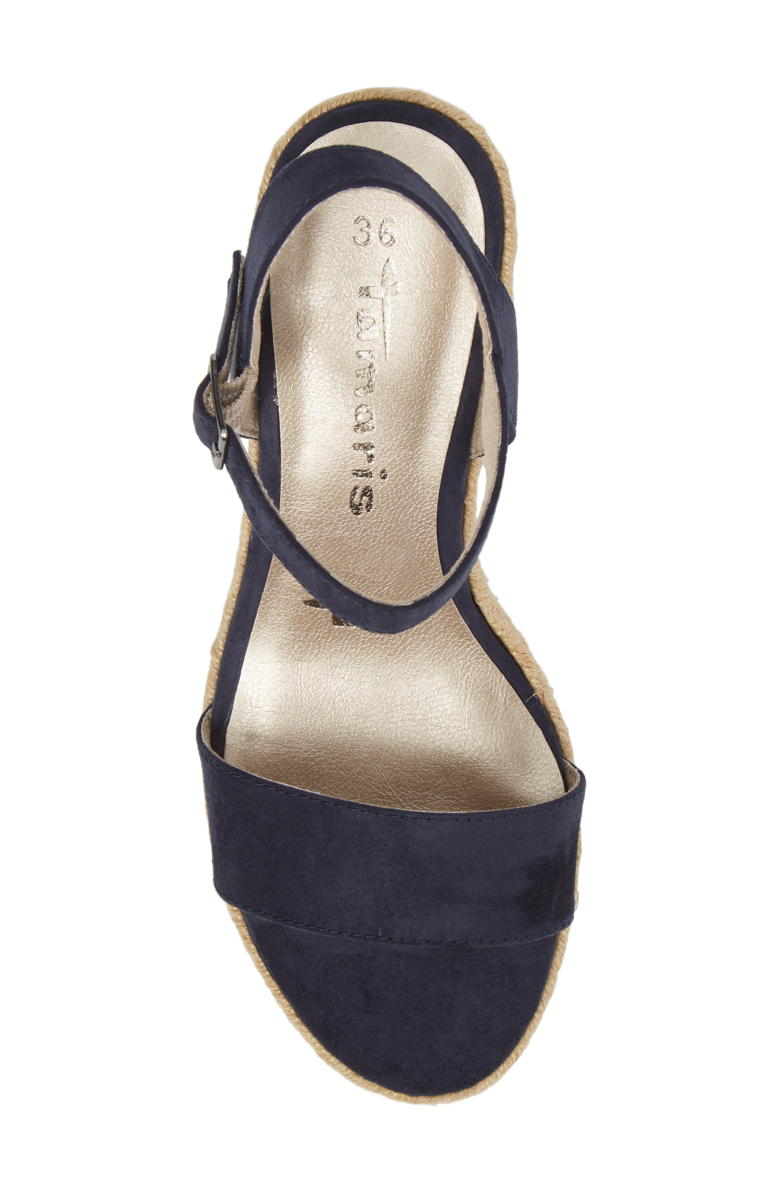 Livia Espadrille Wedge Sandal,                             Alternate thumbnail 5, color,                             NAVY FABRIC