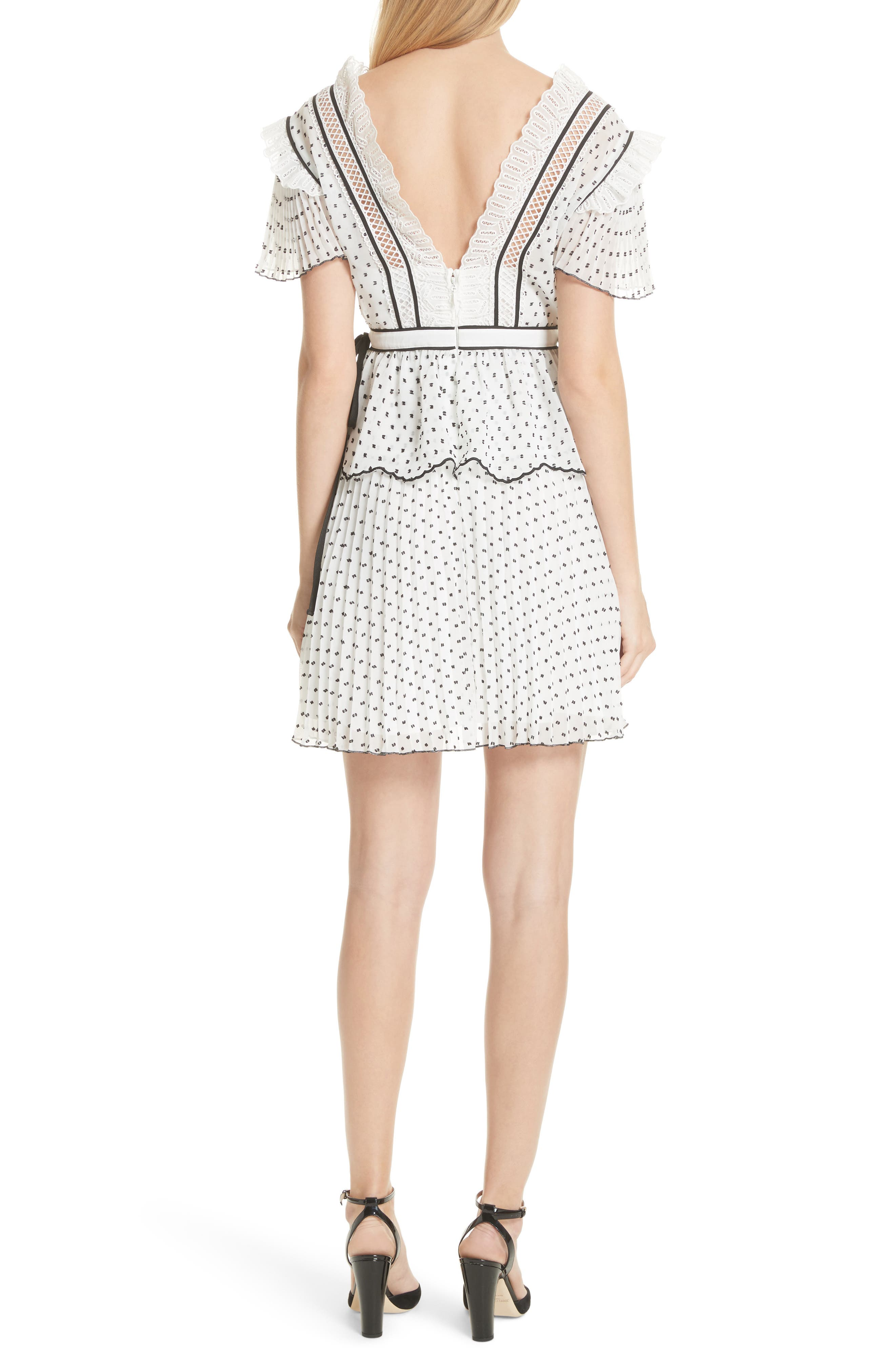 Pleated Plumetis Dress,                             Alternate thumbnail 2, color,                             100