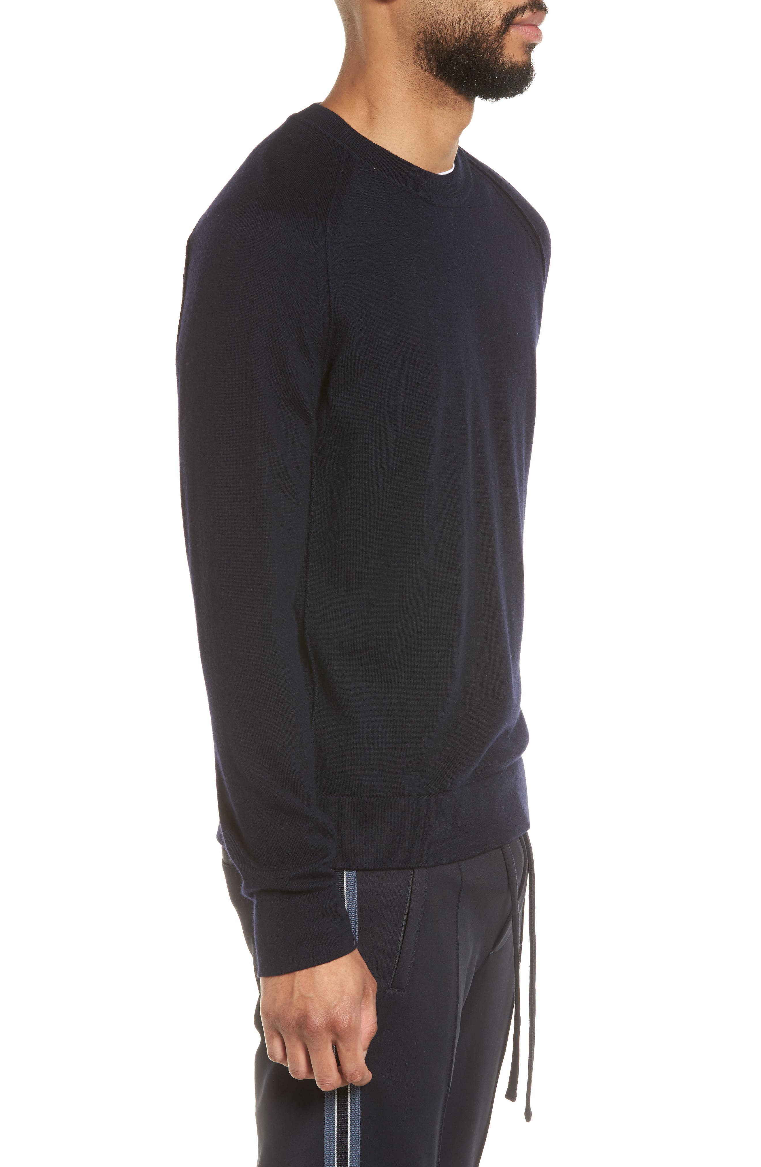 Raw Seam Merino Wool Sweater,                             Alternate thumbnail 3, color,                             NEW COASTAL