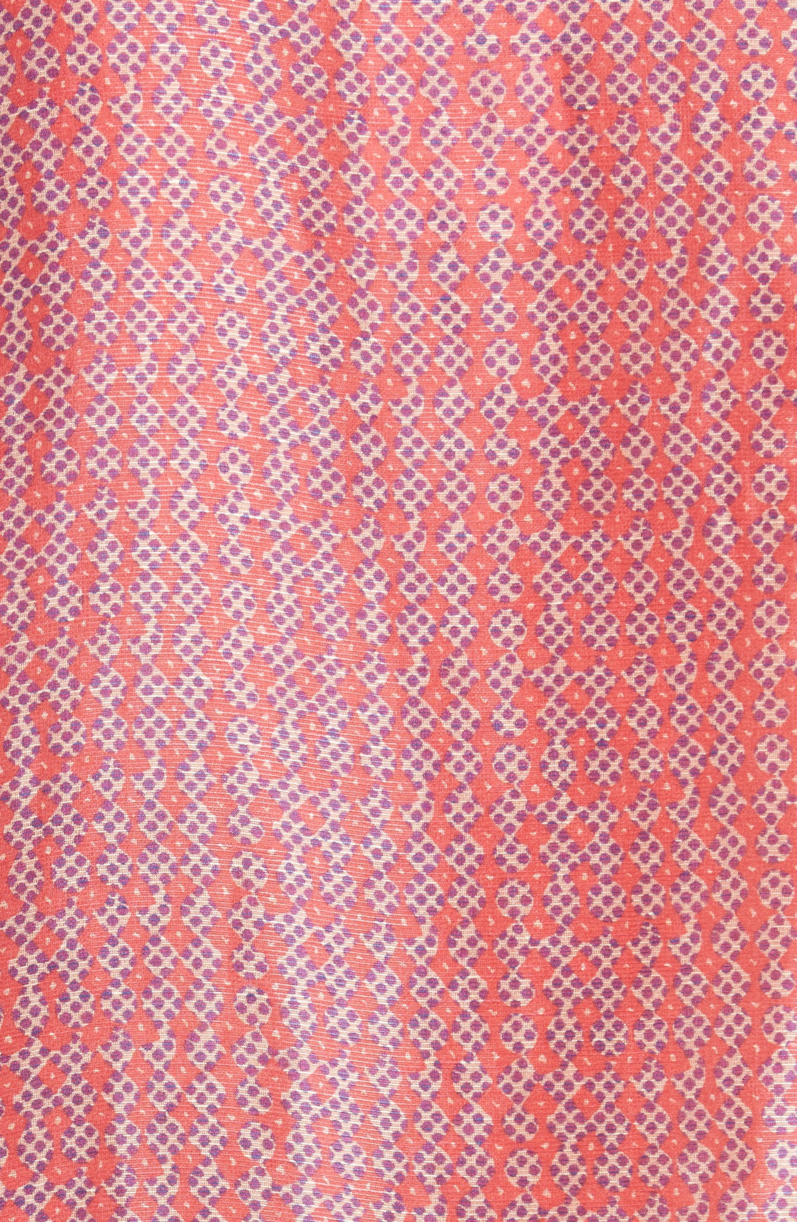 Print Linen & Silk Blouse,                             Alternate thumbnail 5, color,