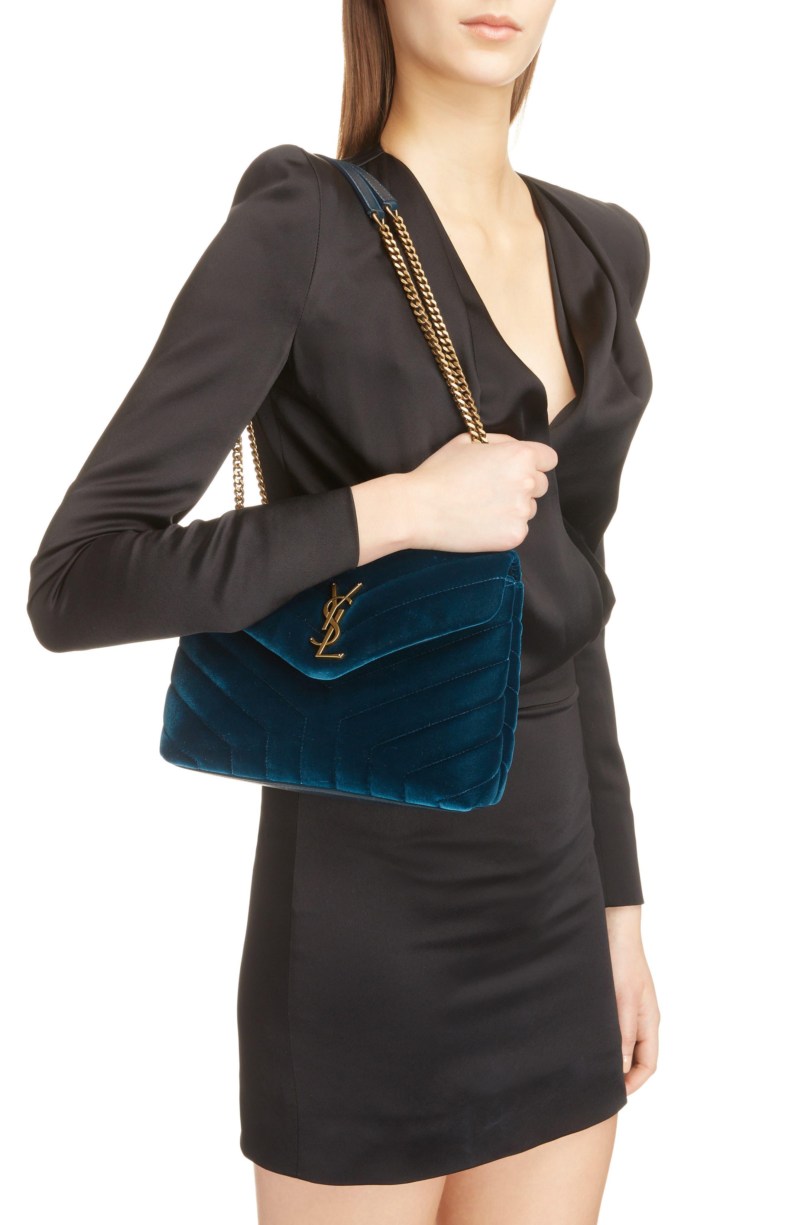 SAINT LAURENT,                             Small Loulou Matelassé Velour Shoulder Bag,                             Alternate thumbnail 2, color,                             DARK DEEP SEA/ DARK DEEP SEA
