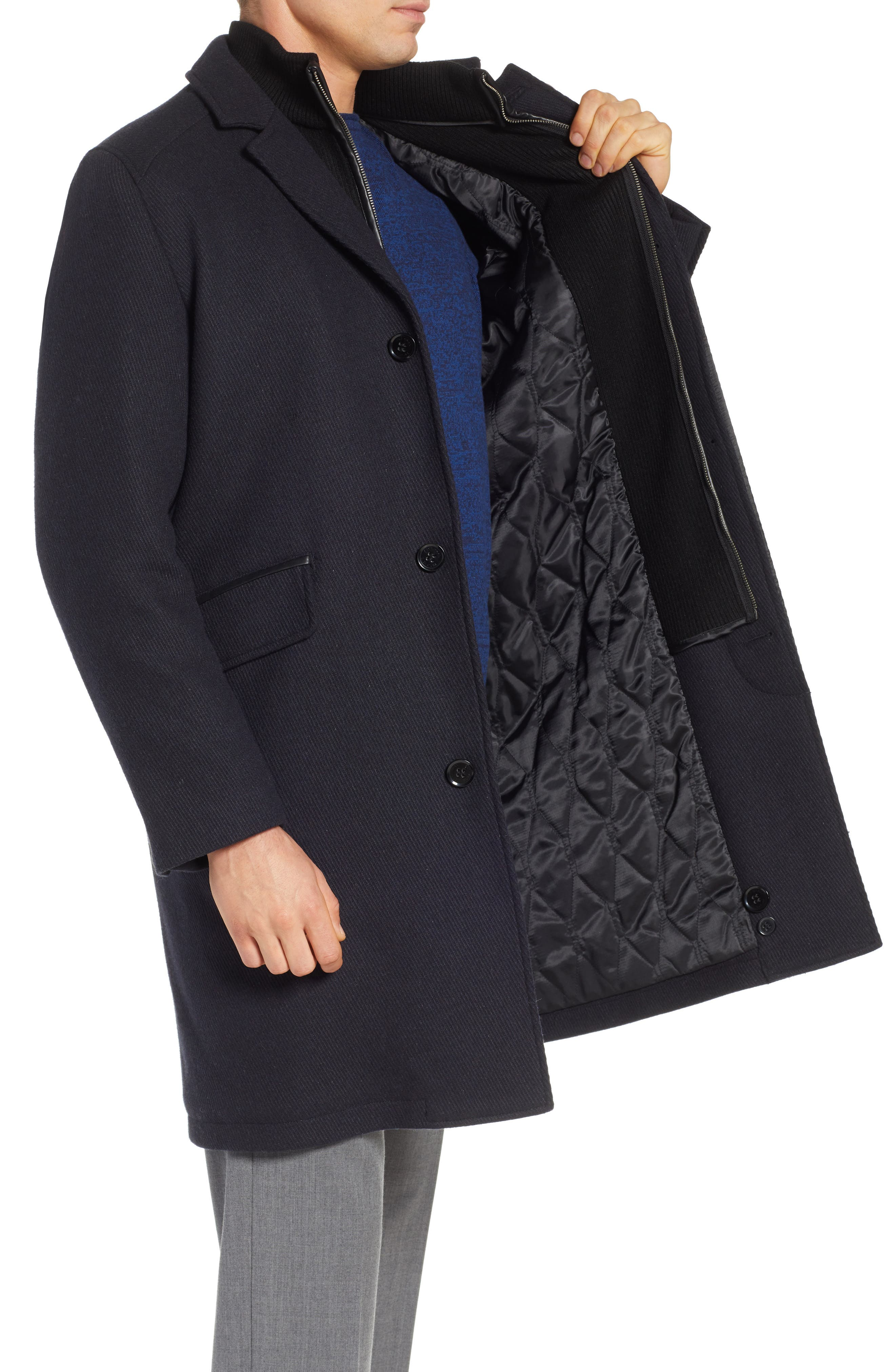 Wool Blend Overcoat with Knit Bib Inset,                             Alternate thumbnail 3, color,                             410