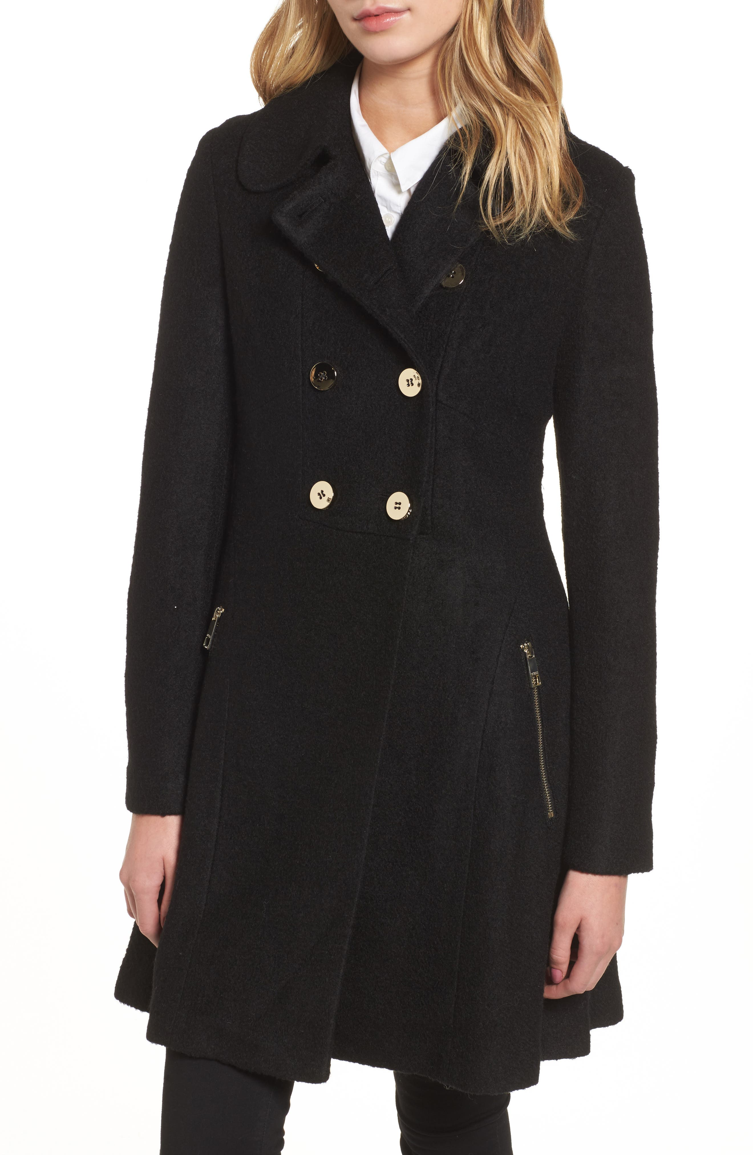 Double Breasted Boiled Wool Peacoat,                         Main,                         color, 001