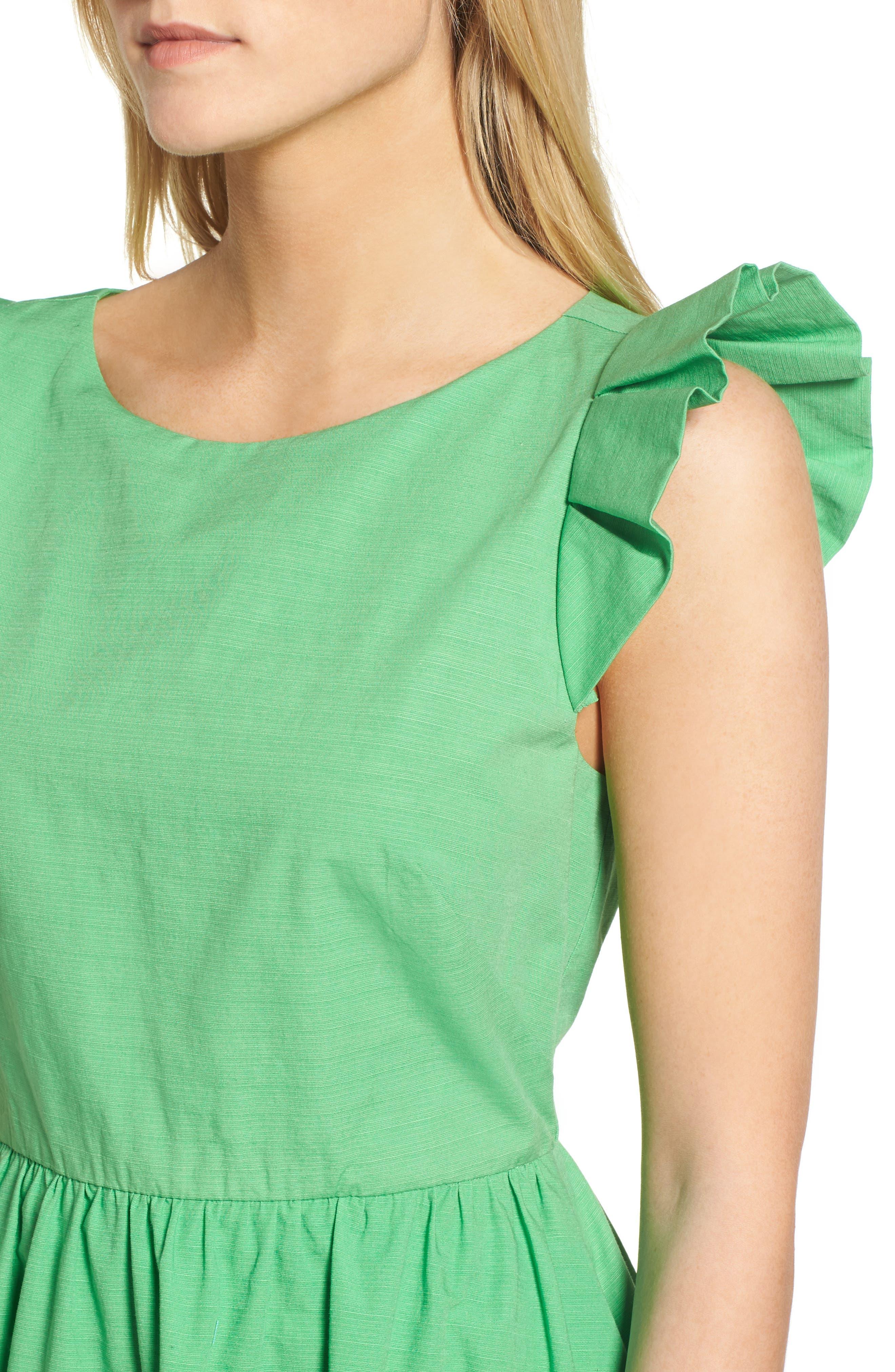 Ruffle Fit & Flare Midi Dress,                             Alternate thumbnail 4, color,                             330