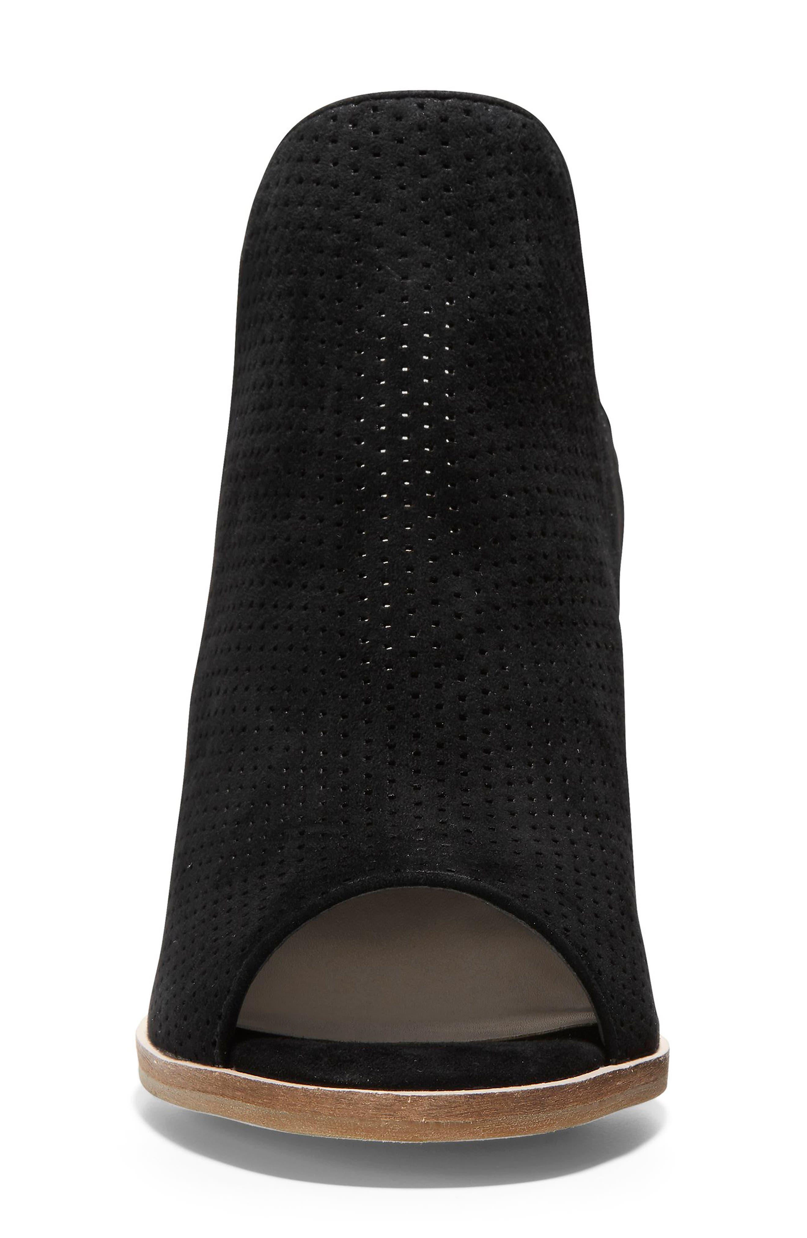 Callista Perforated Slingback Sandal,                             Alternate thumbnail 4, color,                             BLACK PERF SUEDE
