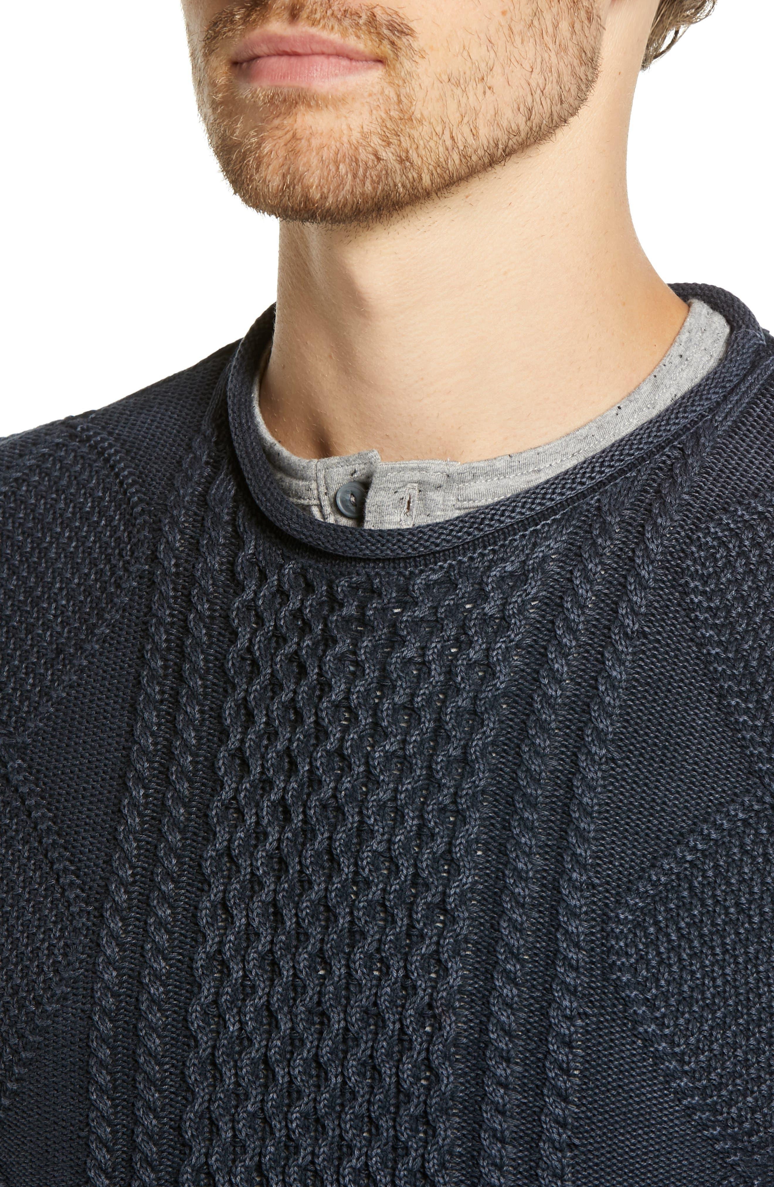 Fisherman Sweater,                             Alternate thumbnail 4, color,                             NAVY IRIS
