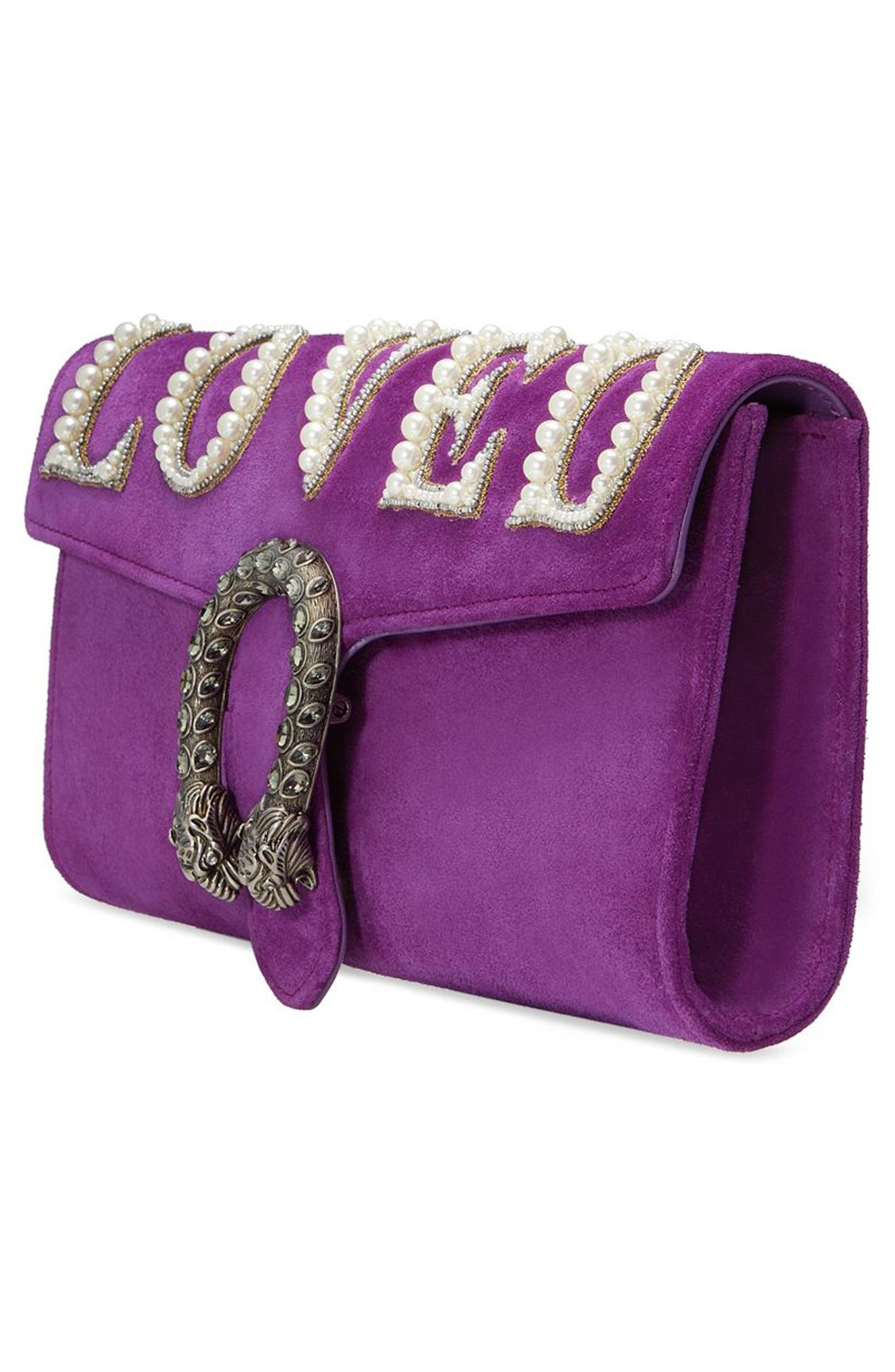 Dionysus Suede Clutch,                             Alternate thumbnail 4, color,                             559
