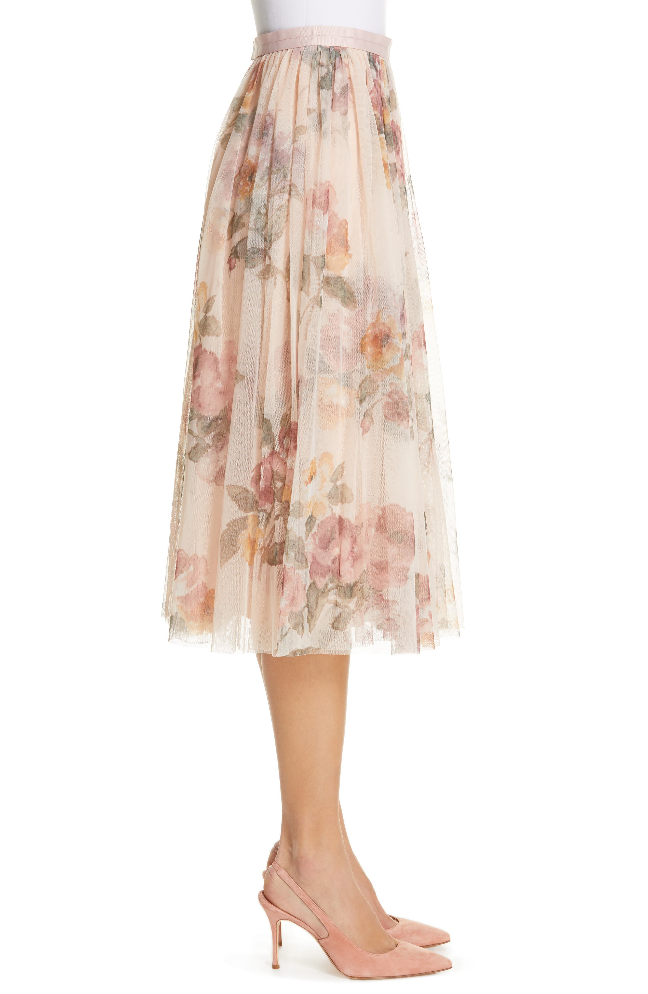 Venetian Rose Midi Skirt,                             Alternate thumbnail 3, color,                             ROSE QUARTZ