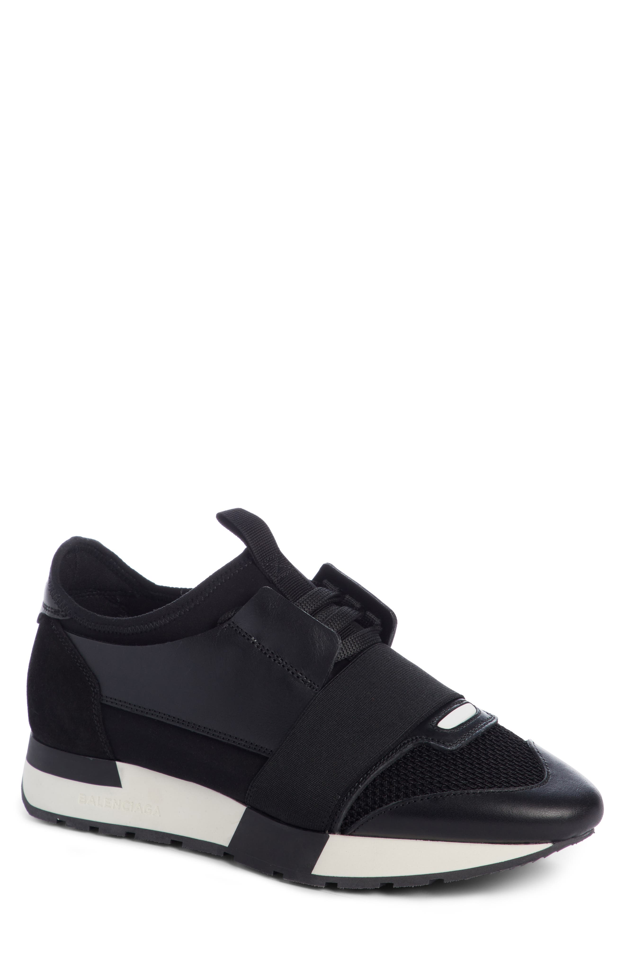 Mixed Media Trainer Sneaker,                         Main,                         color, SOLID BLACK
