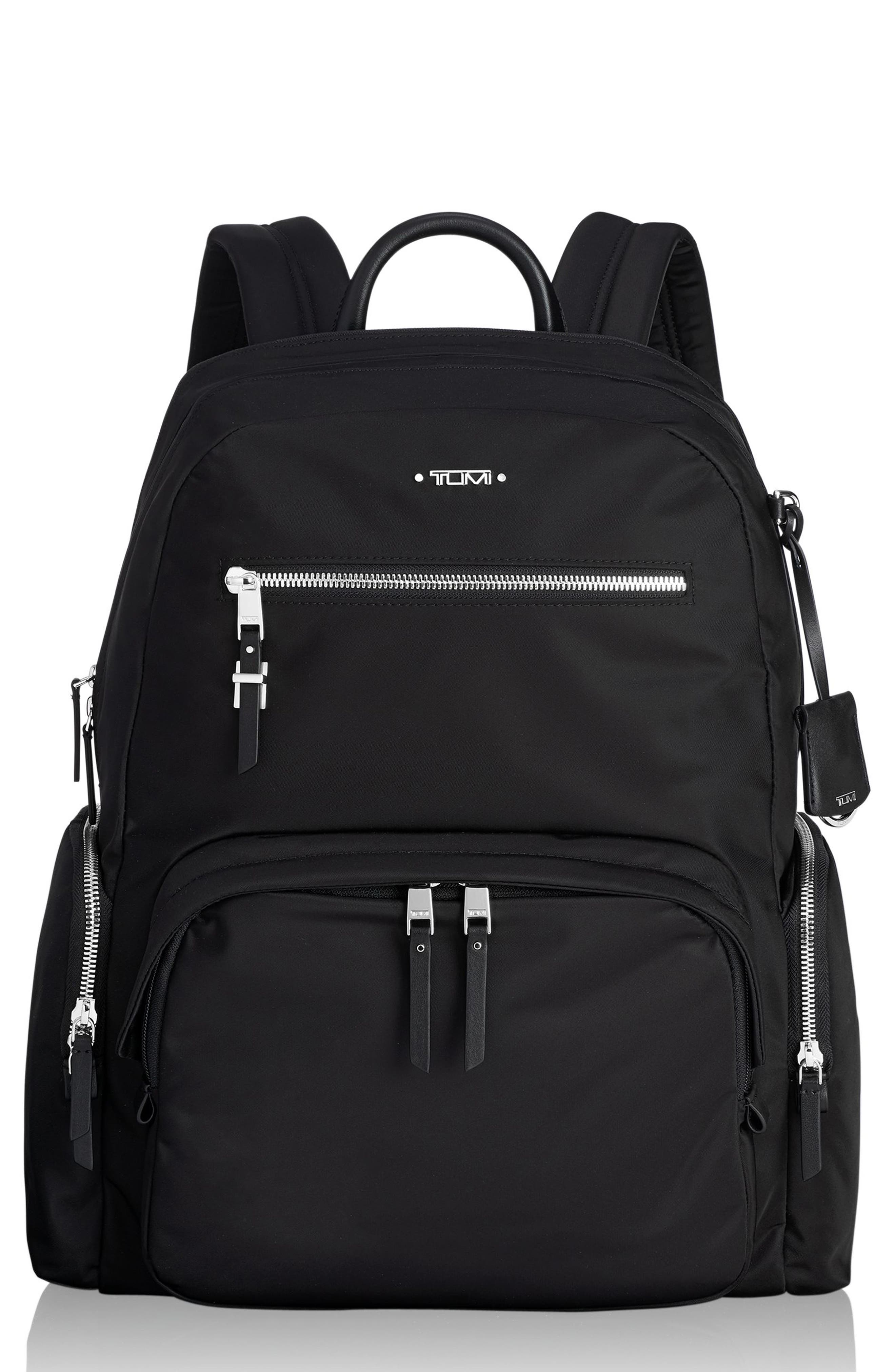 TUMI Voyager Carson Nylon Backpack, Main, color, BLACK/ SILVER