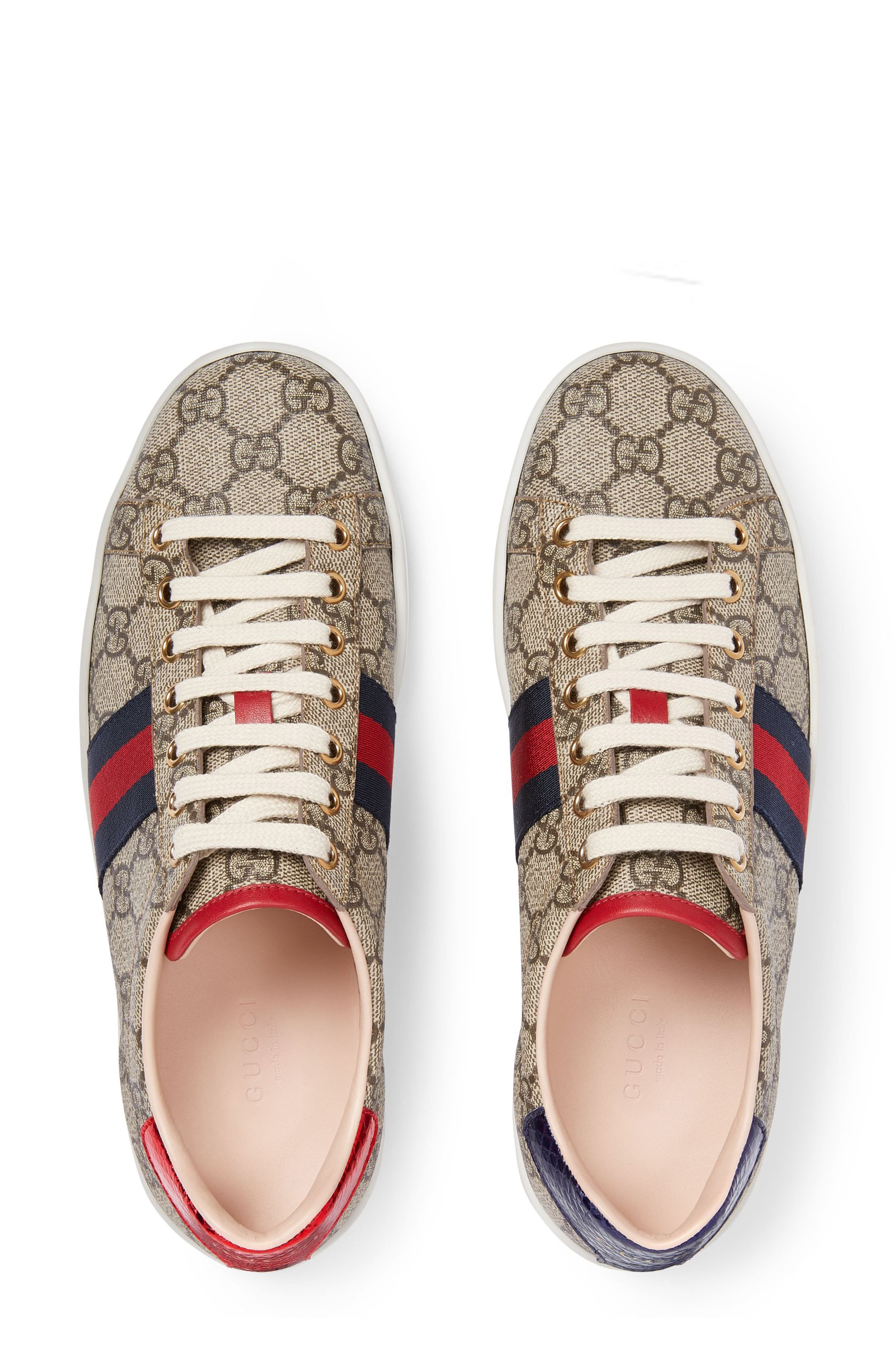 New Ace GG Supreme Sneaker,                             Alternate thumbnail 3, color,                             BEIGE