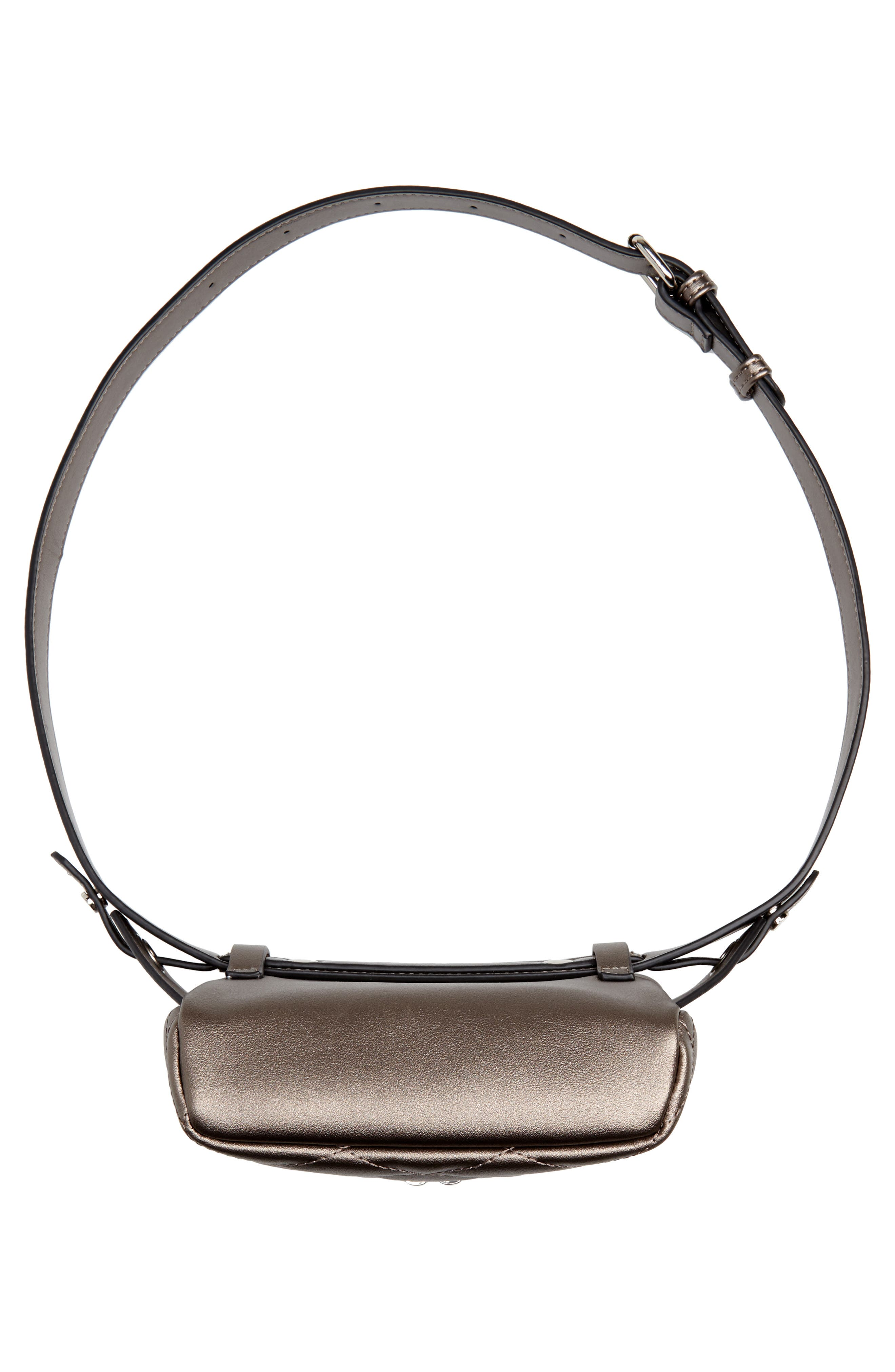 MALI + LILI,                             Faye Vegan Leather Quilted Belt Bag,                             Alternate thumbnail 7, color,                             PEWTER