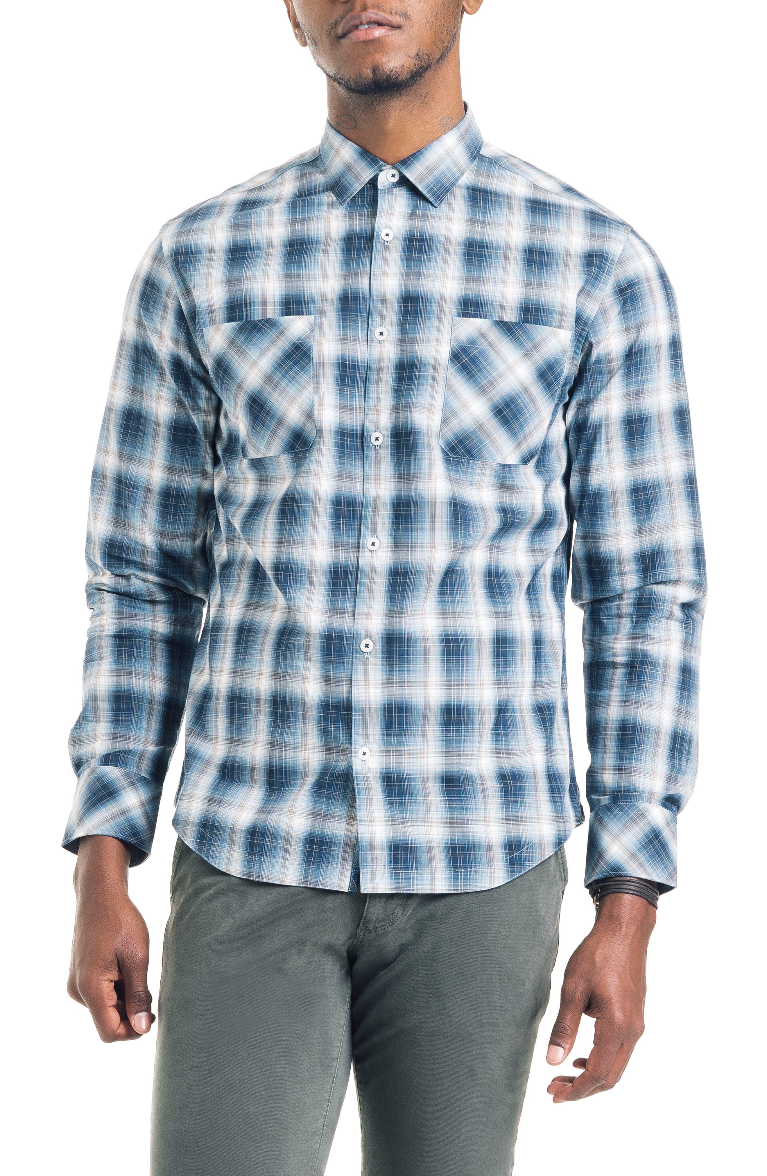 Shadow Slim Fit Plaid Sport Shirt, Main, color, 410