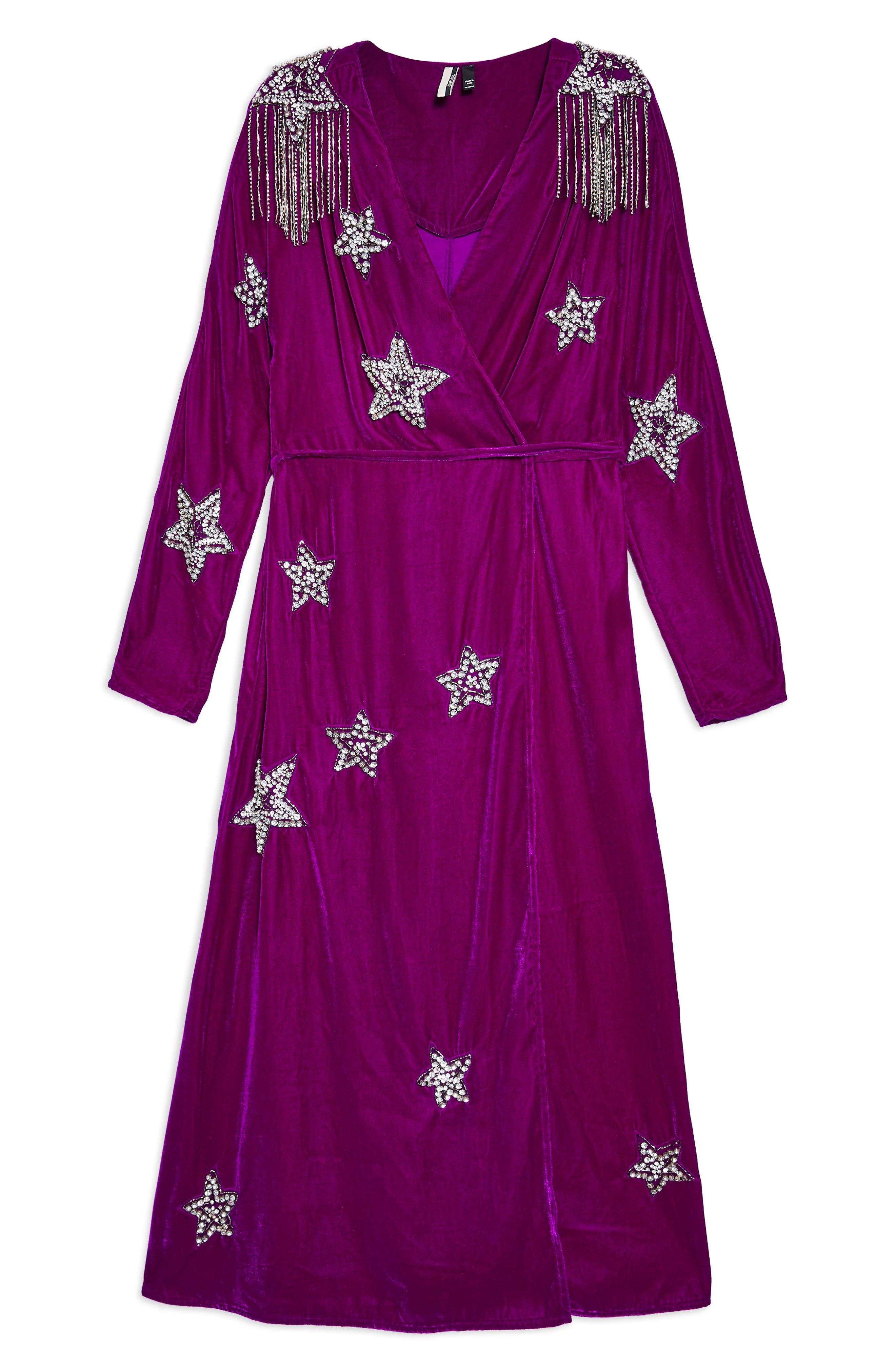Velvet Embroidered Wrap Dress,                             Alternate thumbnail 4, color,                             540